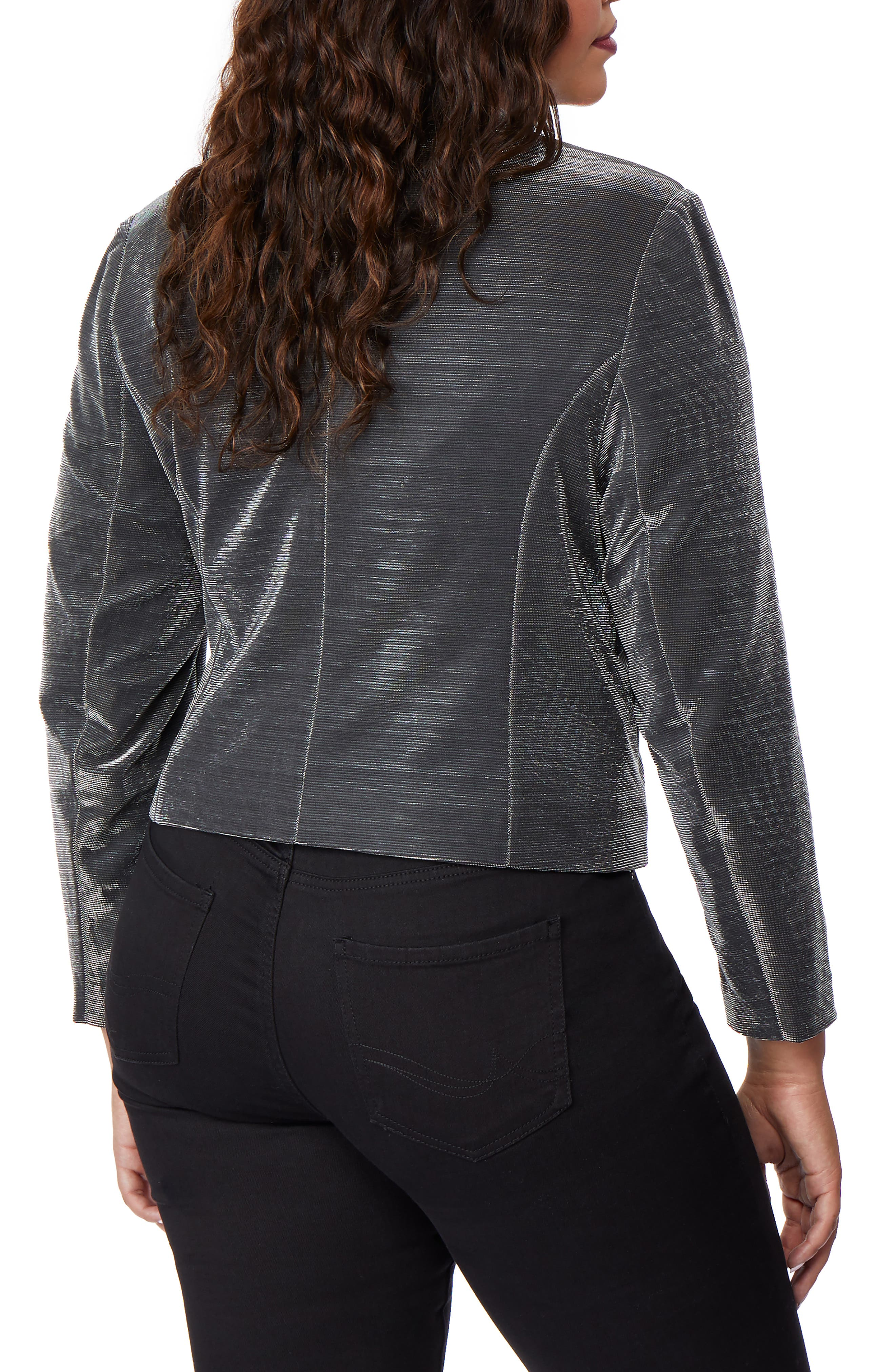 Crop Tux Jacket,                             Alternate thumbnail 2, color,                             GUNMETAL