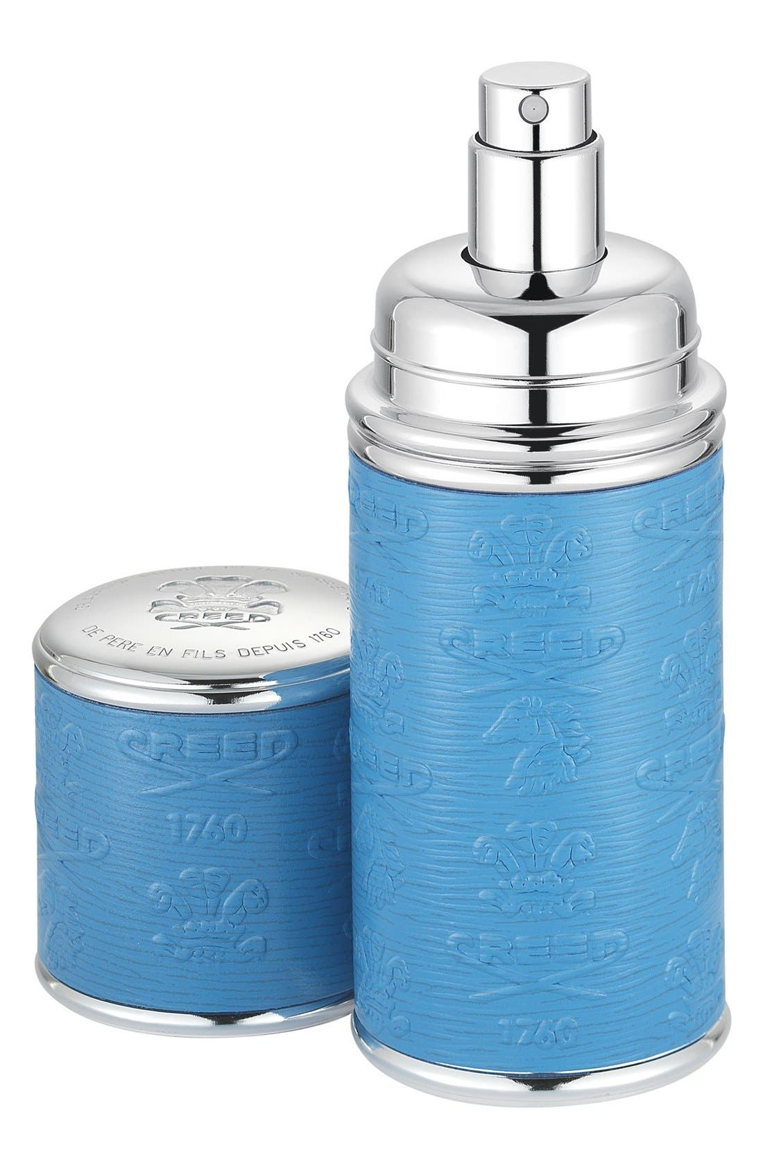 Blue with Silver Trim Leather Atomizer,                         Main,                         color, NO COLOR