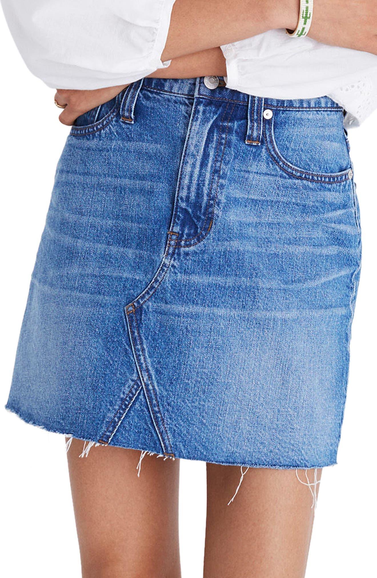 Frisco Denim Miniskirt,                         Main,                         color, 400