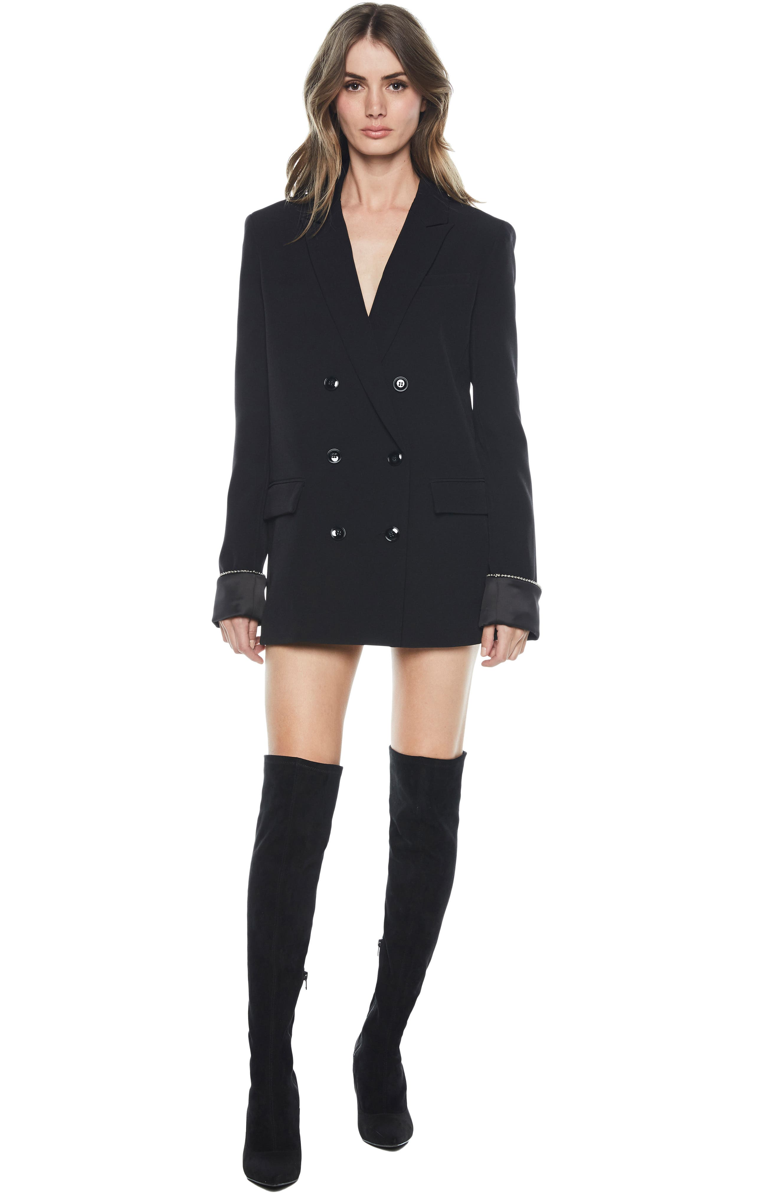 Sienna Double Breasted Jacket,                             Alternate thumbnail 5, color,                             BLACK