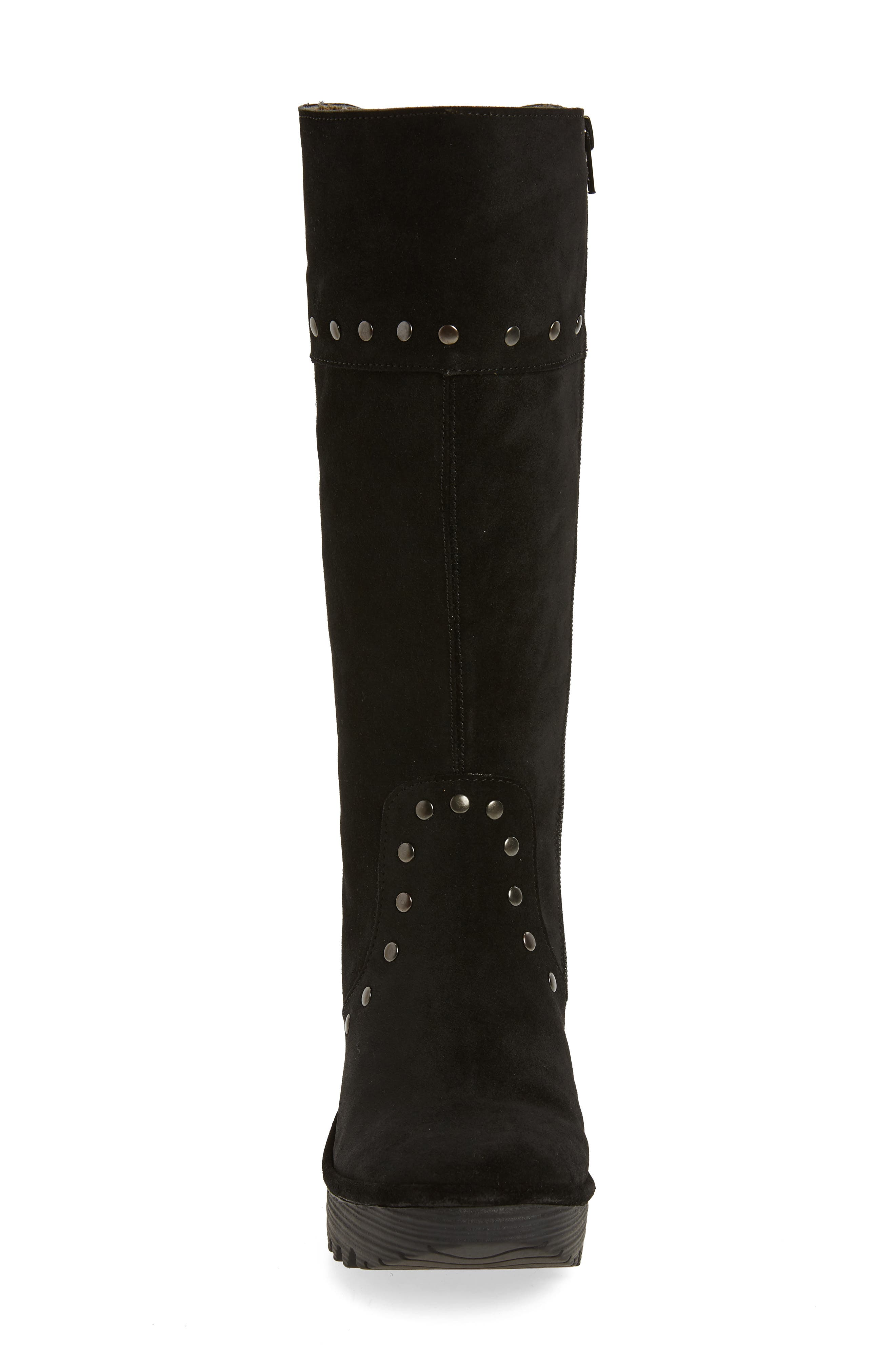 Yota Knee High Boot,                             Alternate thumbnail 4, color,                             BLACK OIL SUEDE