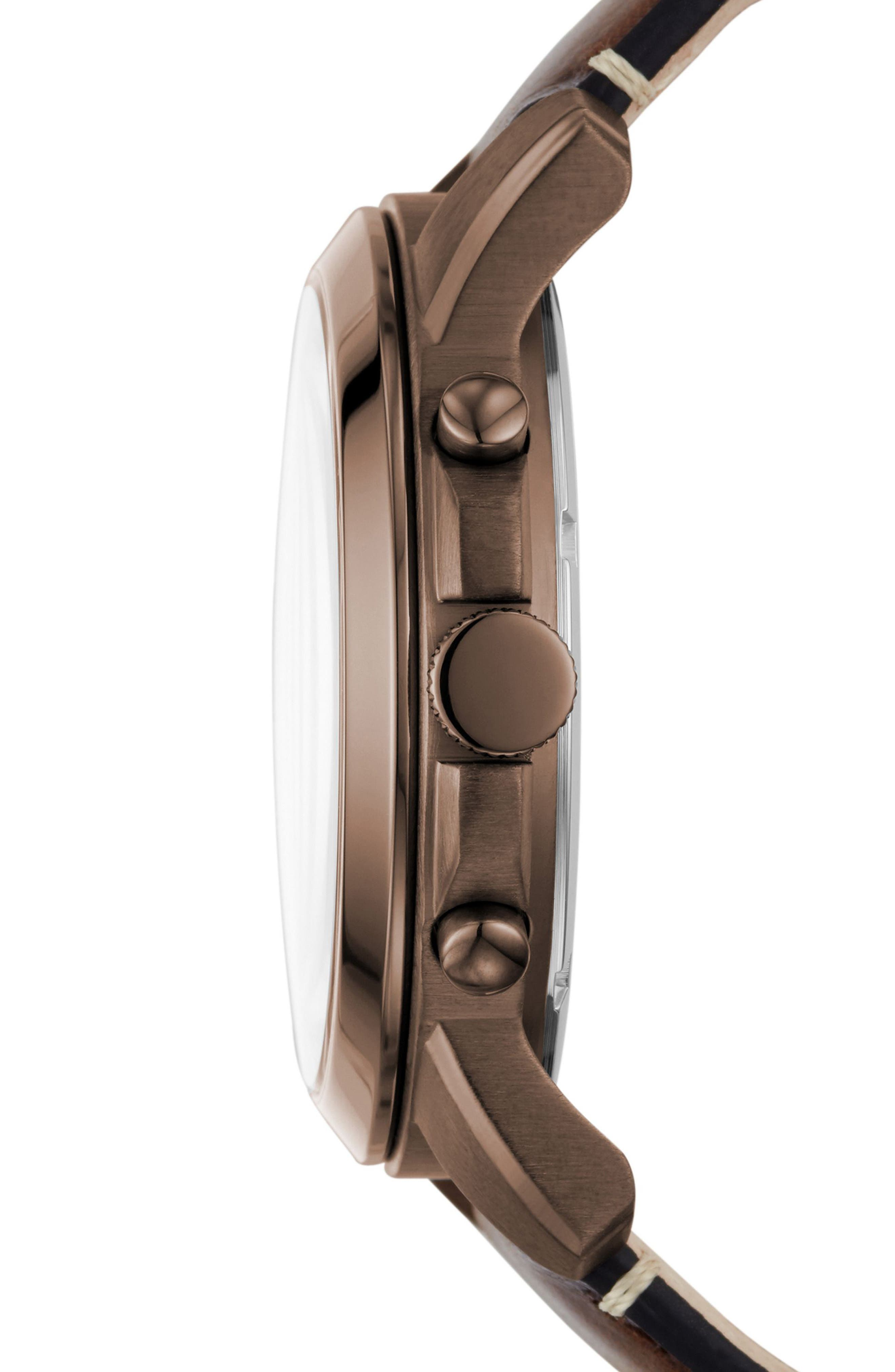 'Grant' Round Chronograph Leather Strap Watch, 44mm,                             Alternate thumbnail 33, color,