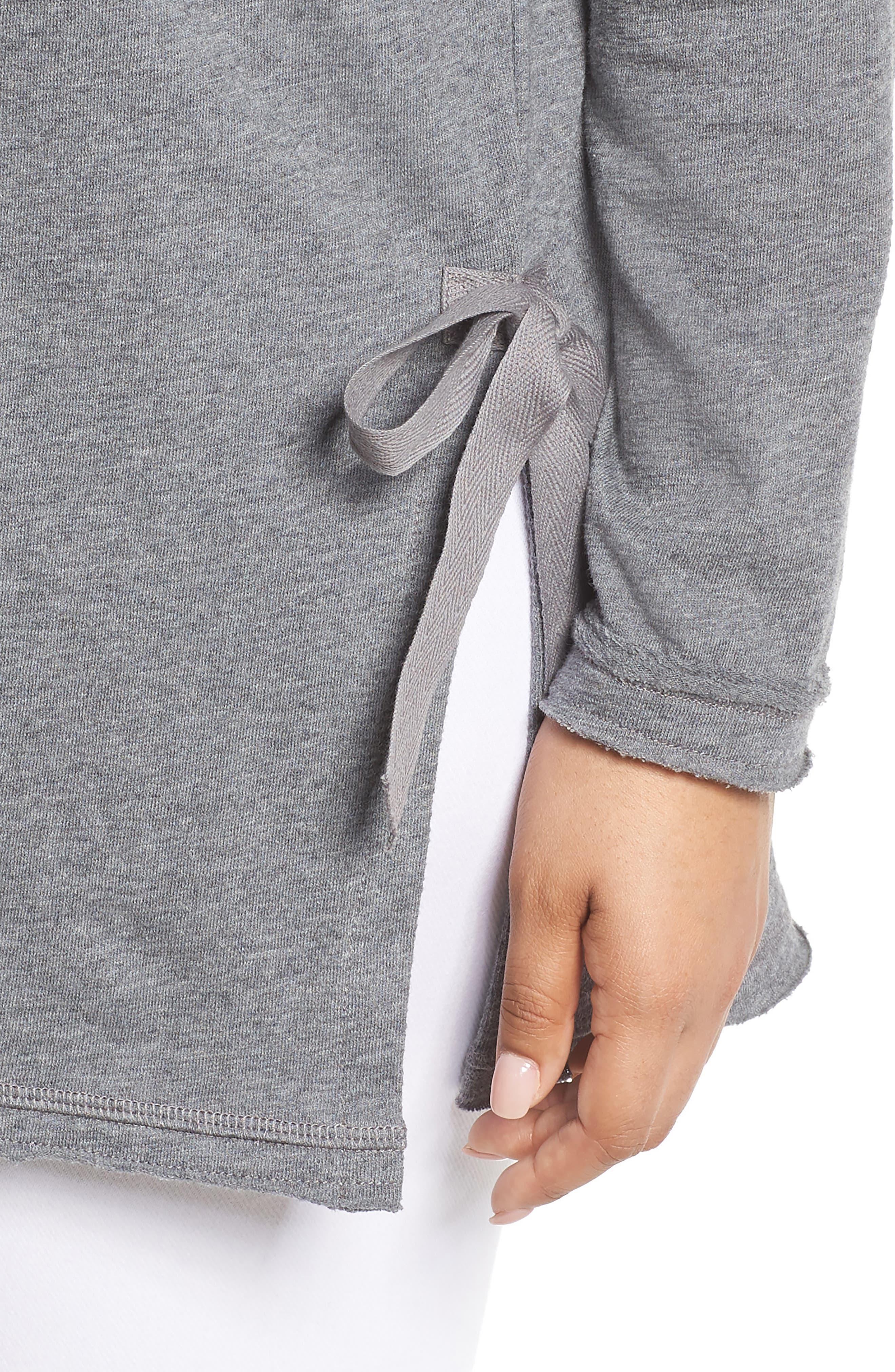 Side Tie Cotton Tunic Top,                             Alternate thumbnail 4, color,                             030