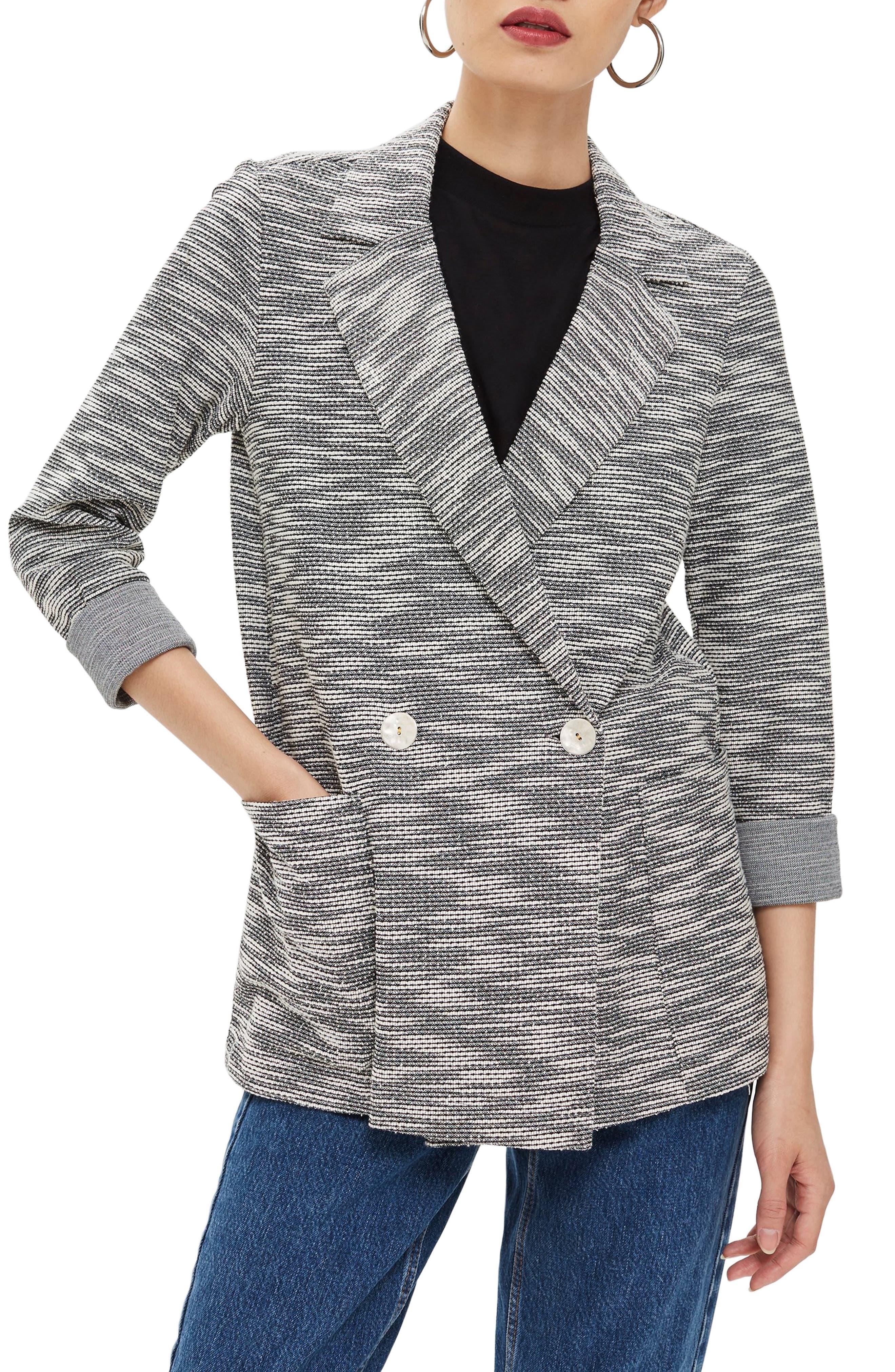 Bouclé Button Jacket,                         Main,                         color, GREY