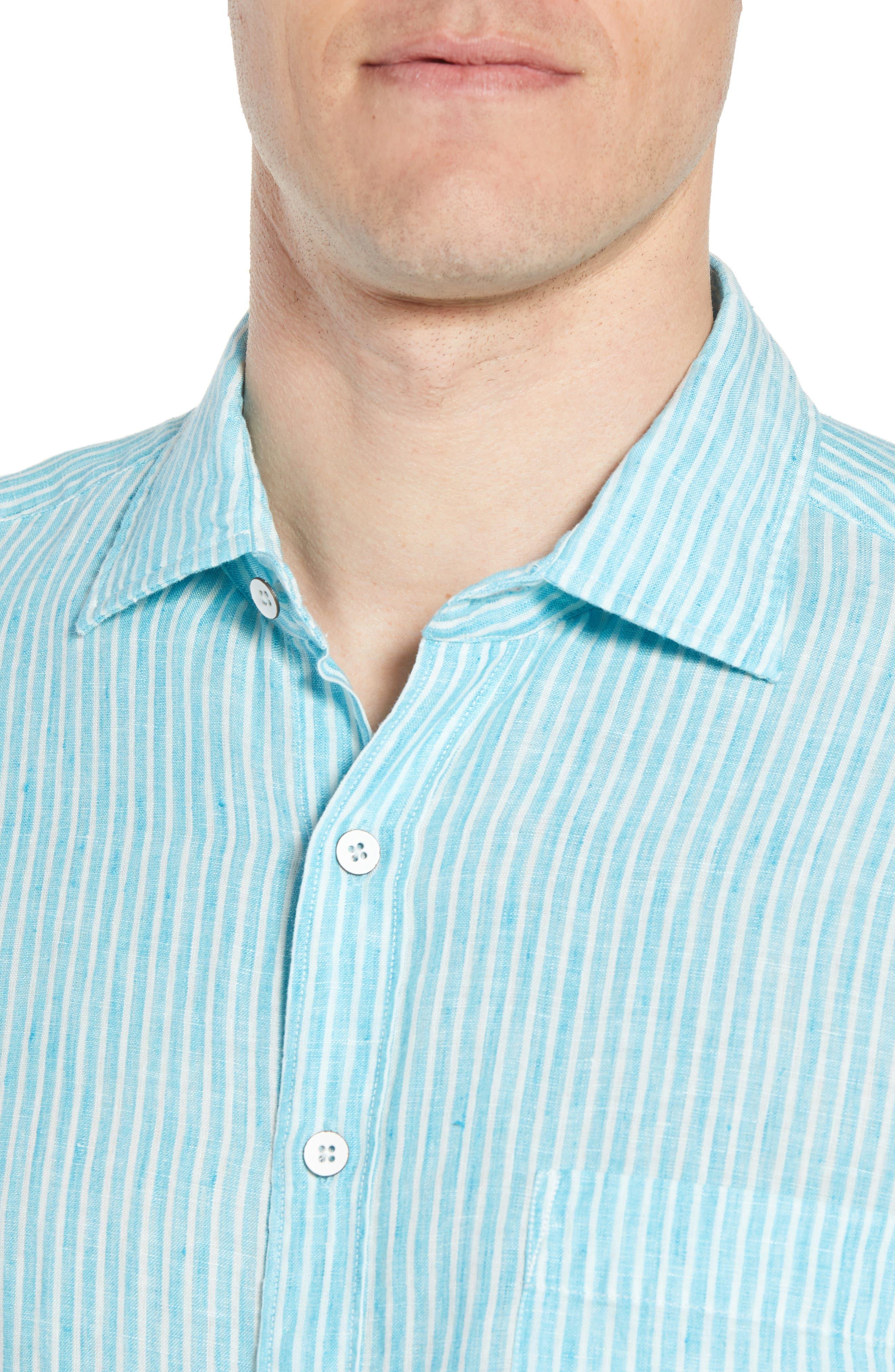 Warwick Junction Stripe Linen Sport Shirt,                             Alternate thumbnail 4, color,                             TEAL