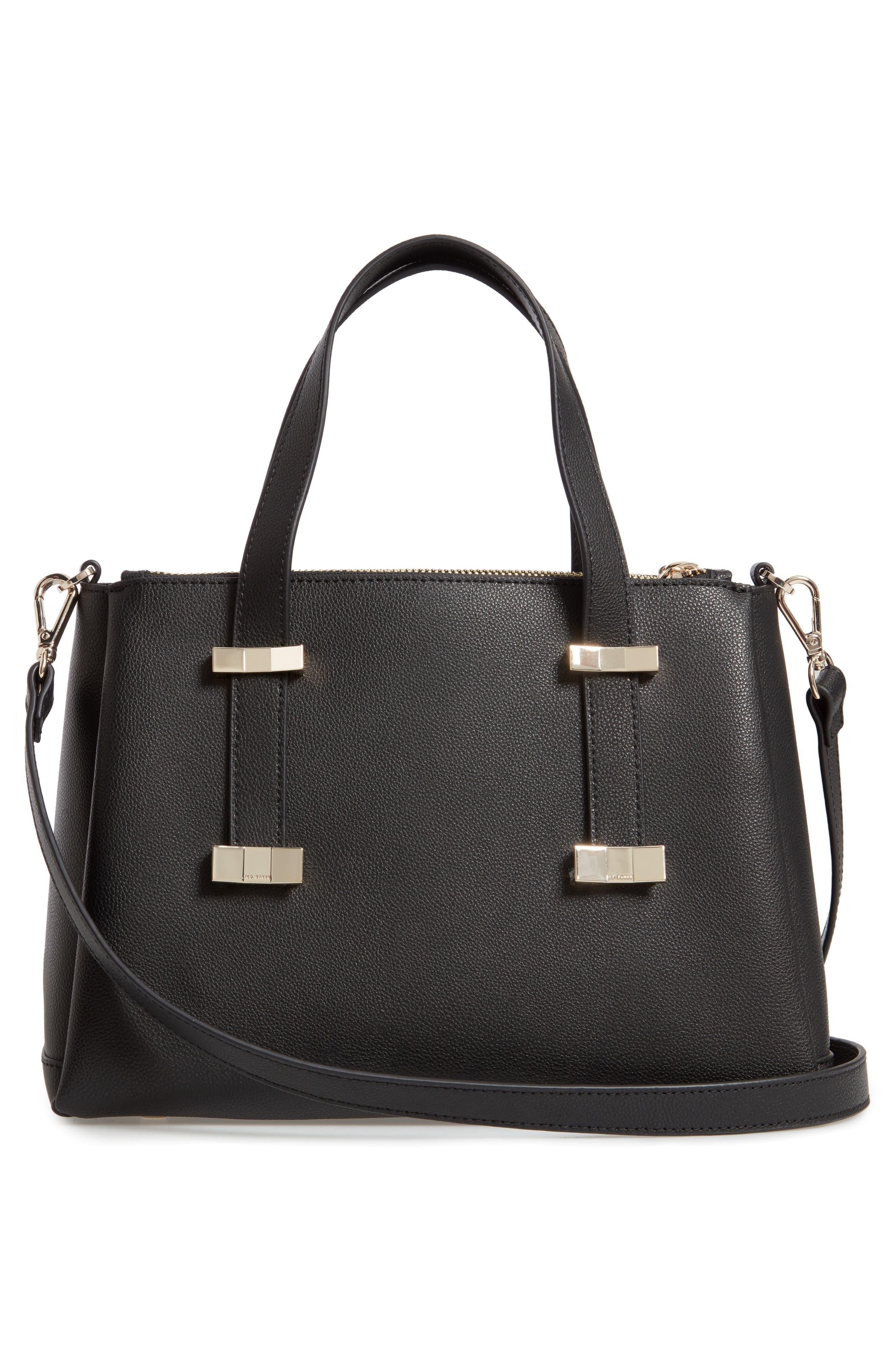 Julieet Large Adjustable Handle Leather Satchel,                             Alternate thumbnail 3, color,                             BLACK