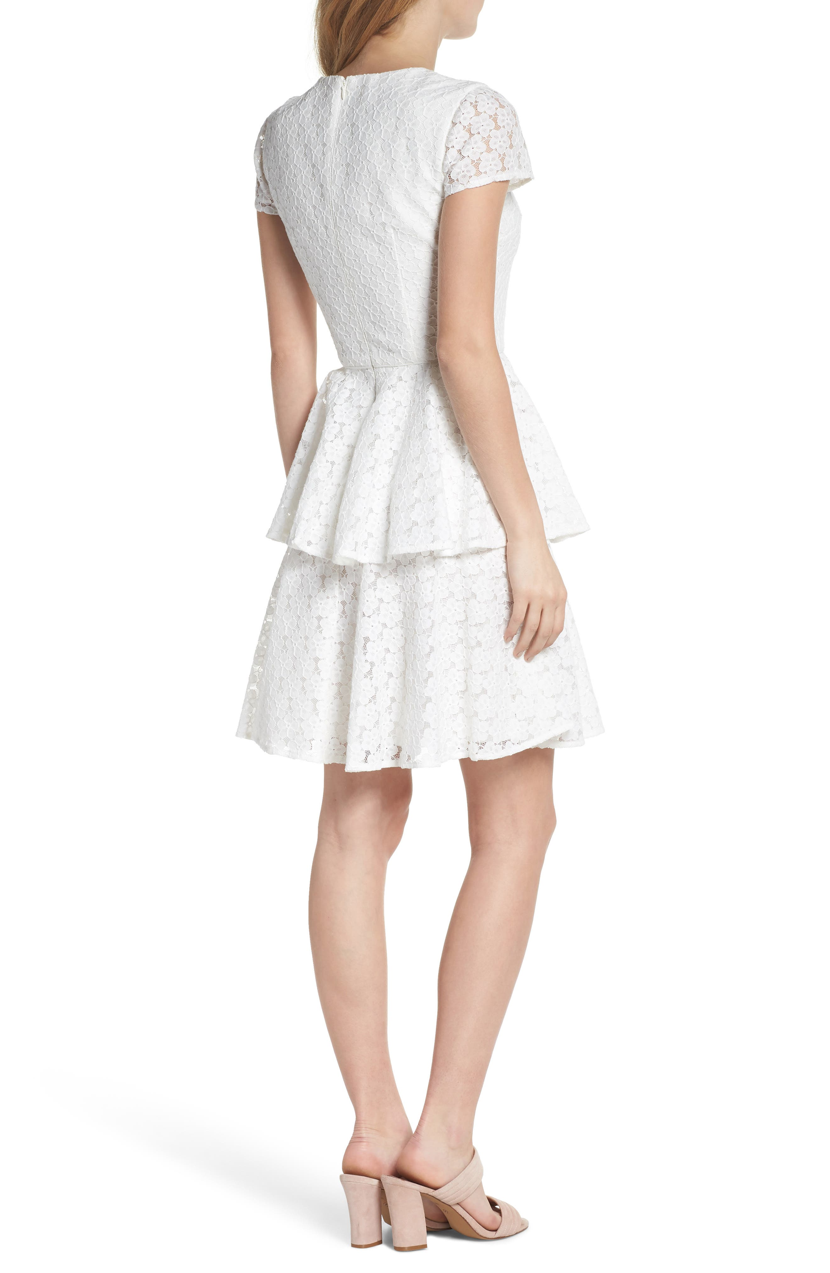 Daisy Lace Tiered Fit & Flare Dress,                             Alternate thumbnail 2, color,                             120