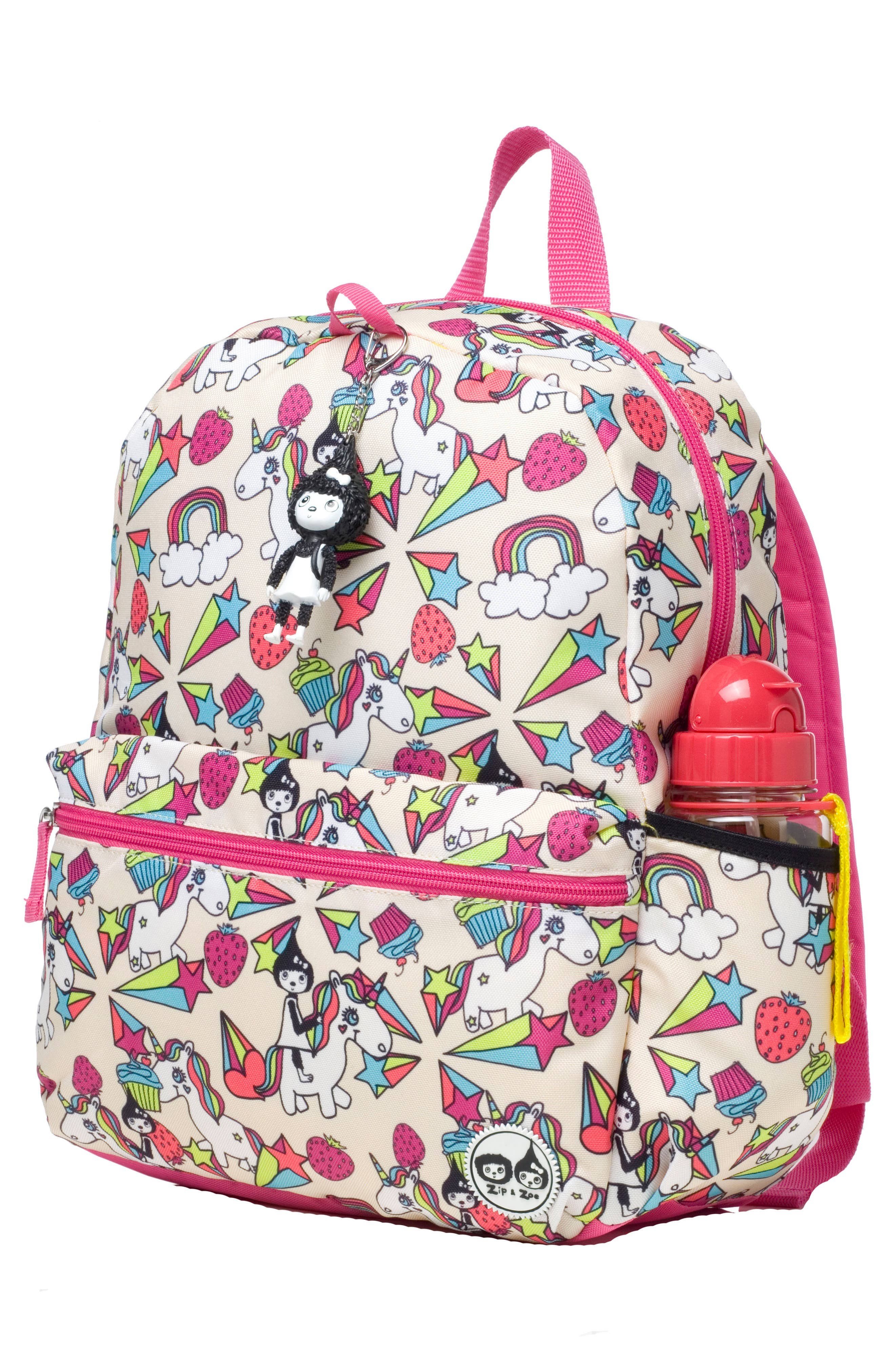 Zip & Zoe Unicorn Junior Backpack,                             Alternate thumbnail 3, color,                             WHITE