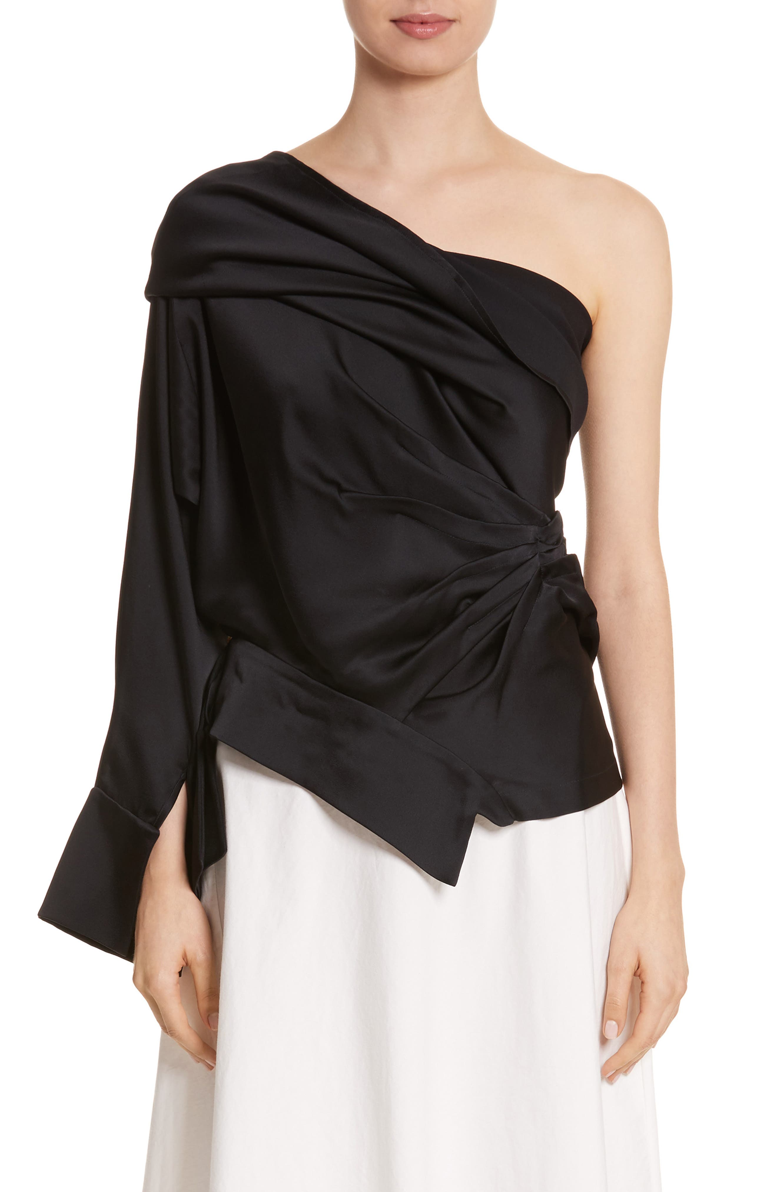 Twisted One Shoulder Top,                             Main thumbnail 1, color,                             001