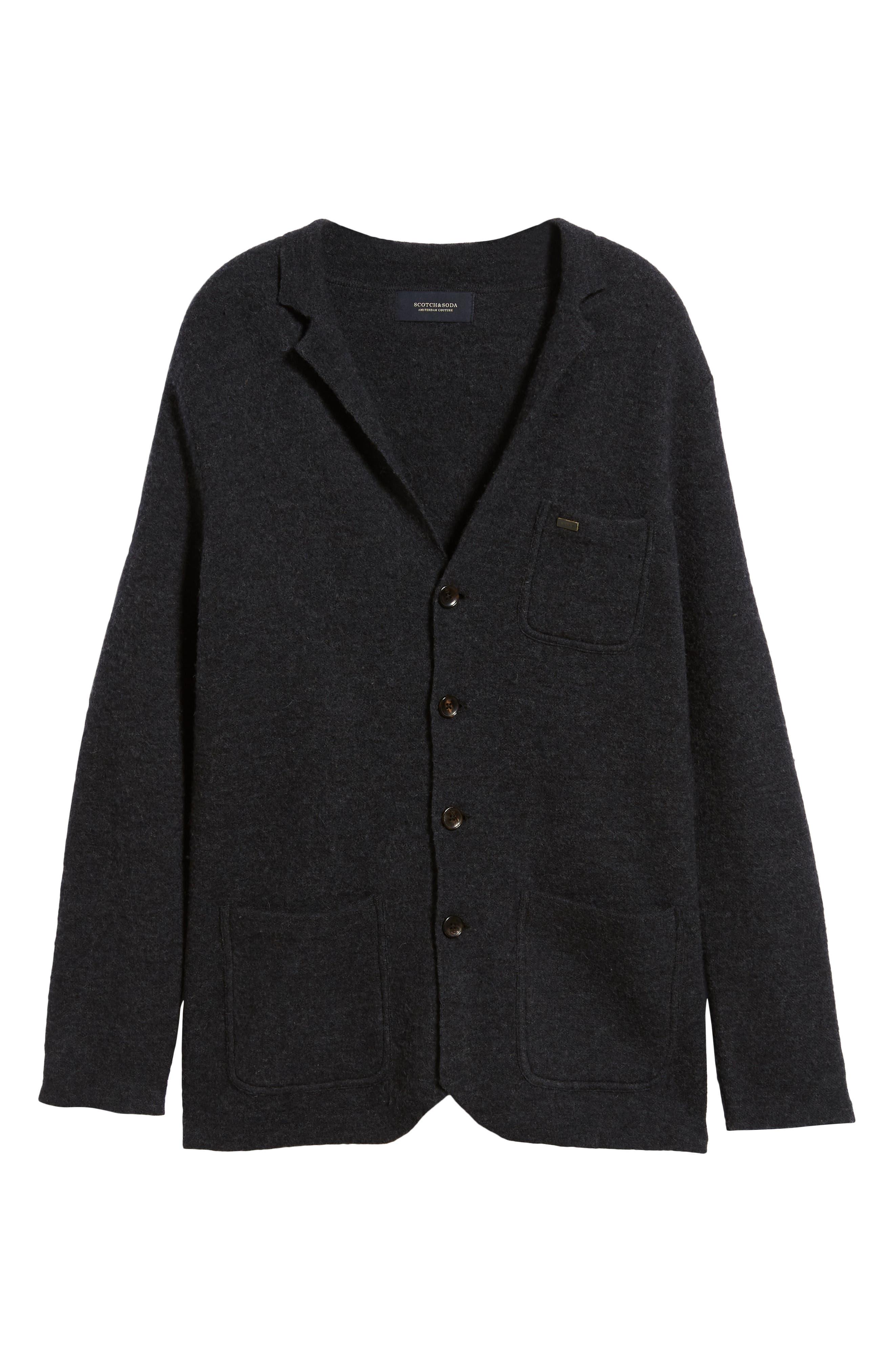 Boiled Wool Blazer,                             Alternate thumbnail 6, color,                             CHARCOAL MELANGE