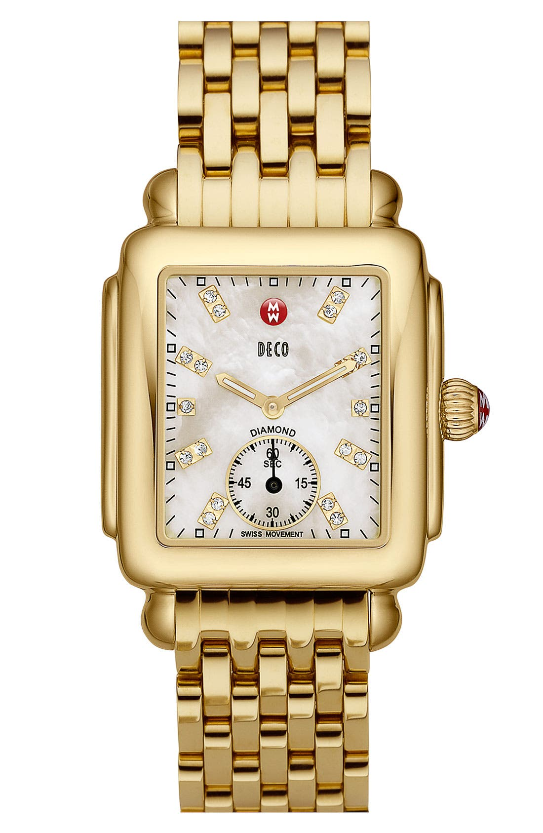 MICHELE,                             Deco 16 Diamond Dial Gold Watch Head, 29mm x 31mm,                             Alternate thumbnail 3, color,                             GOLD