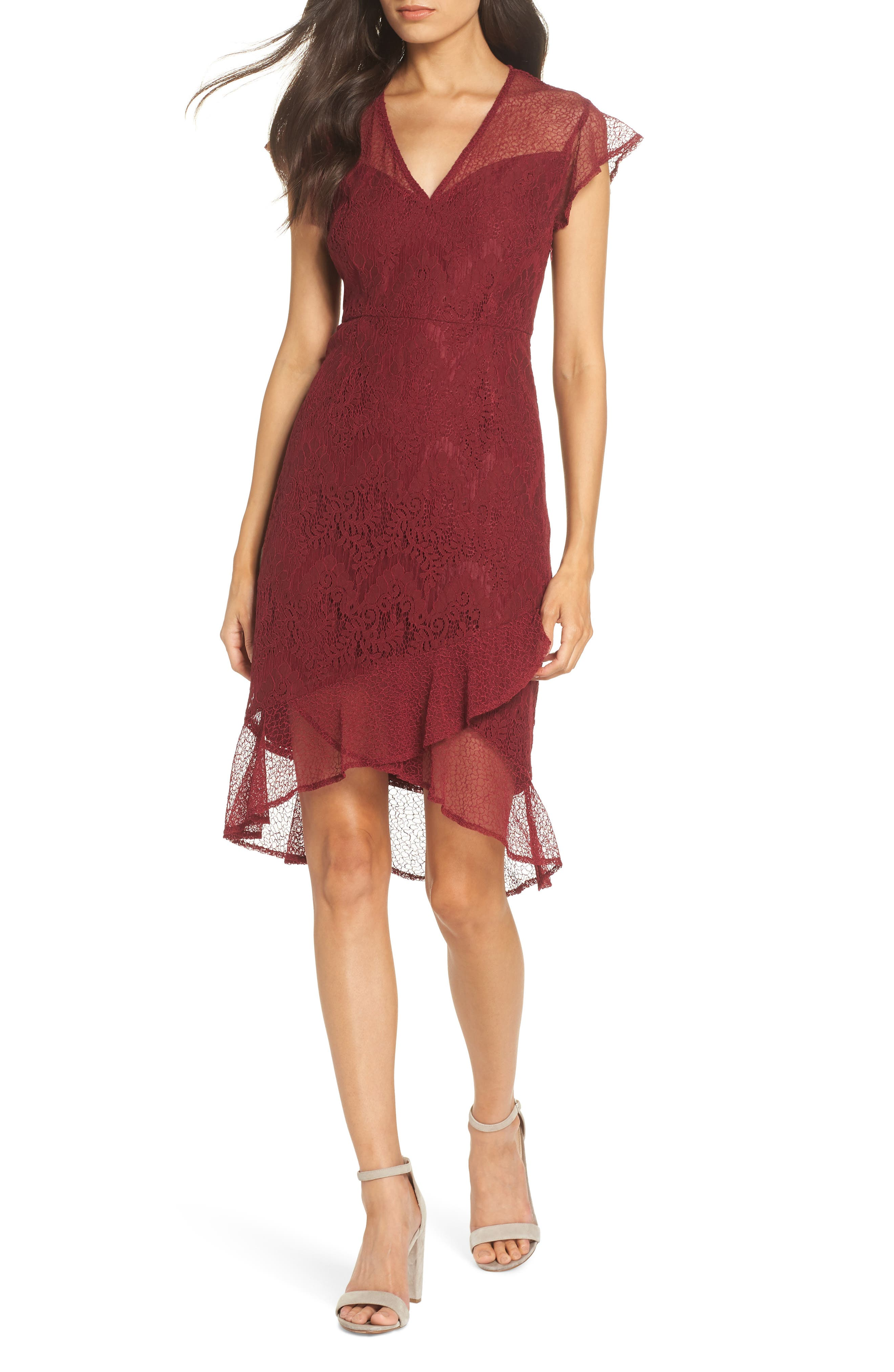 Chelsea28 Mix Lace Dress, Red