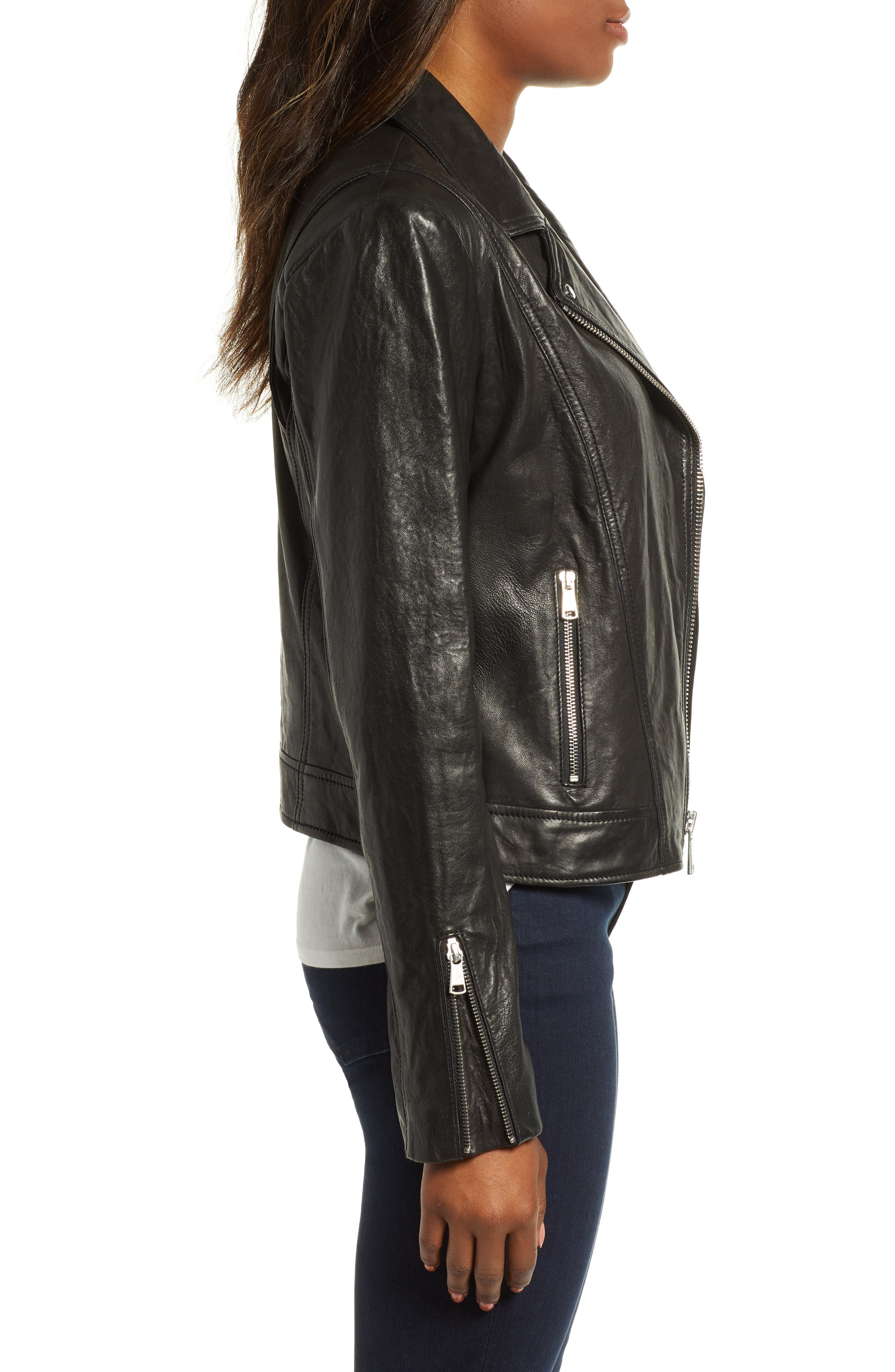 Washed Nappa Leather Moto Jacket,                             Alternate thumbnail 3, color,                             BLACK
