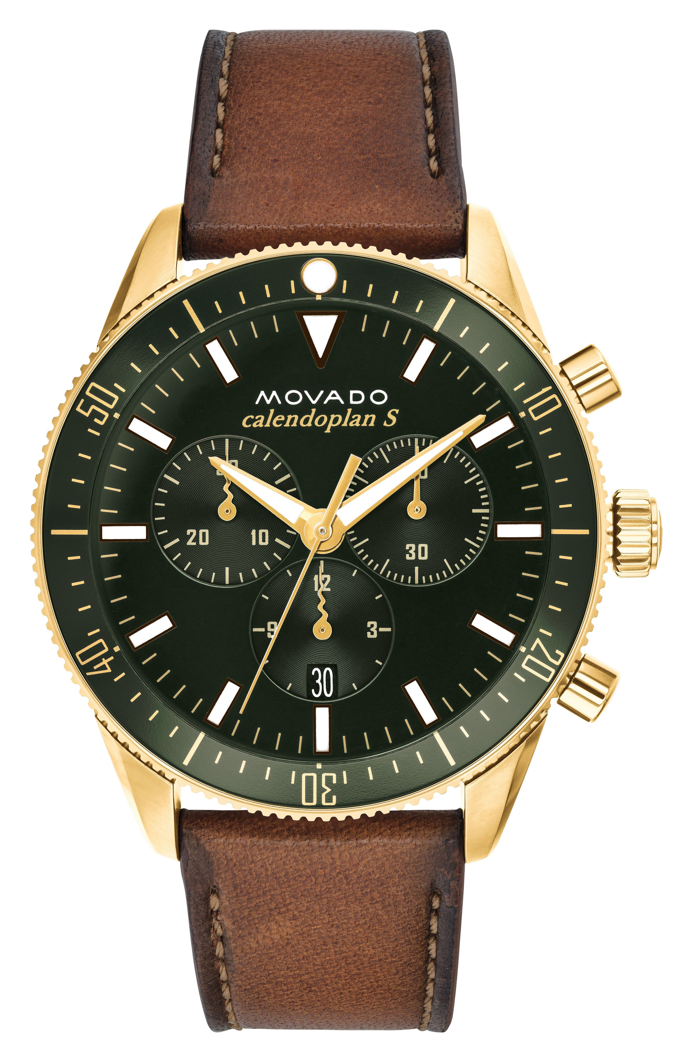 Heritage Chrono Leather Strap Watch, 42mm,                             Main thumbnail 1, color,                             COGNAC/ GREEN/ GOLD