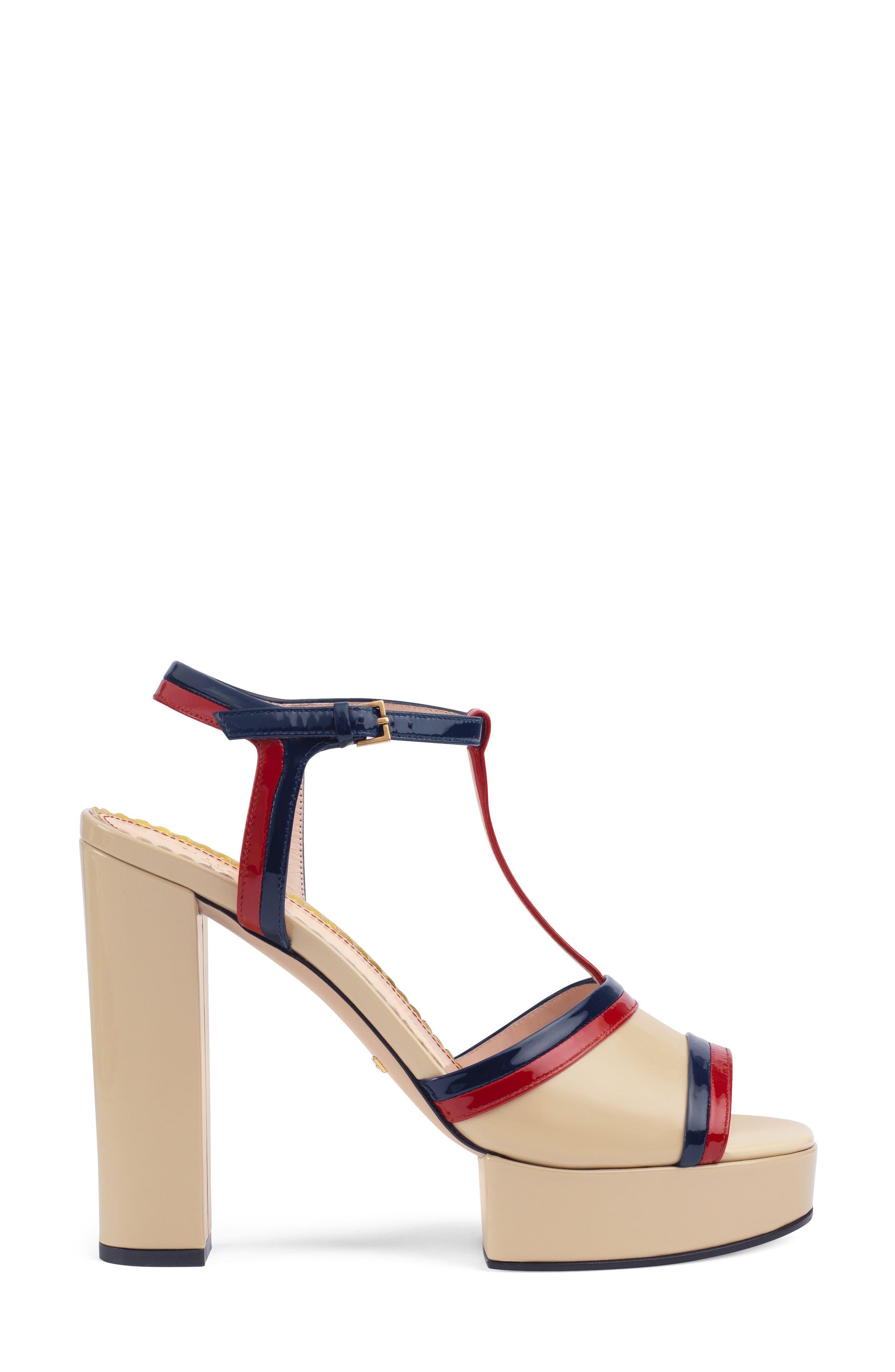 Millie T-Strap Platform Sandal,                             Alternate thumbnail 3, color,                             BEIGE/ RED/ BLUE