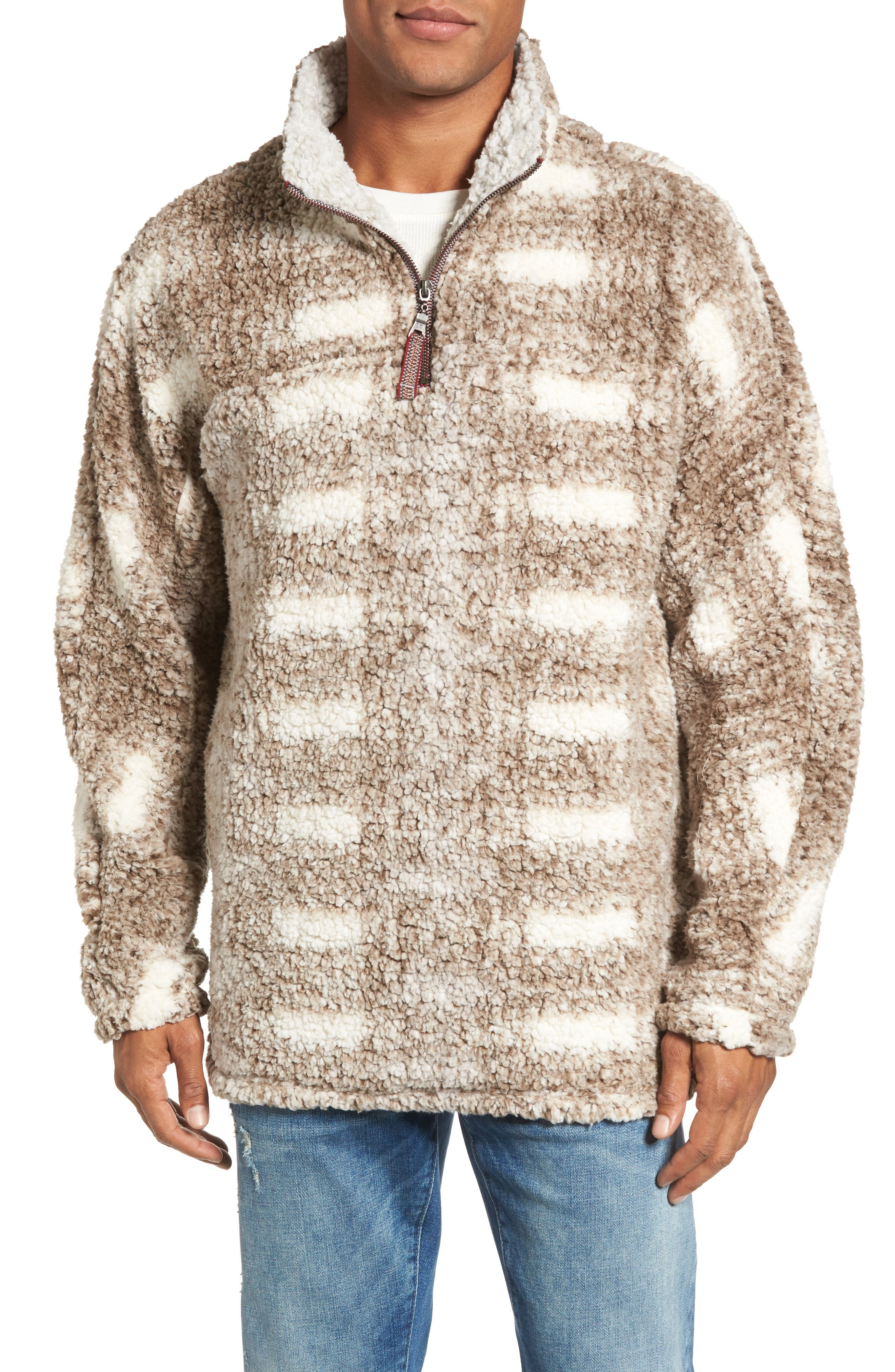 Big Plaid Frosty Tipped Faux Fur Pullover,                         Main,                         color, 200