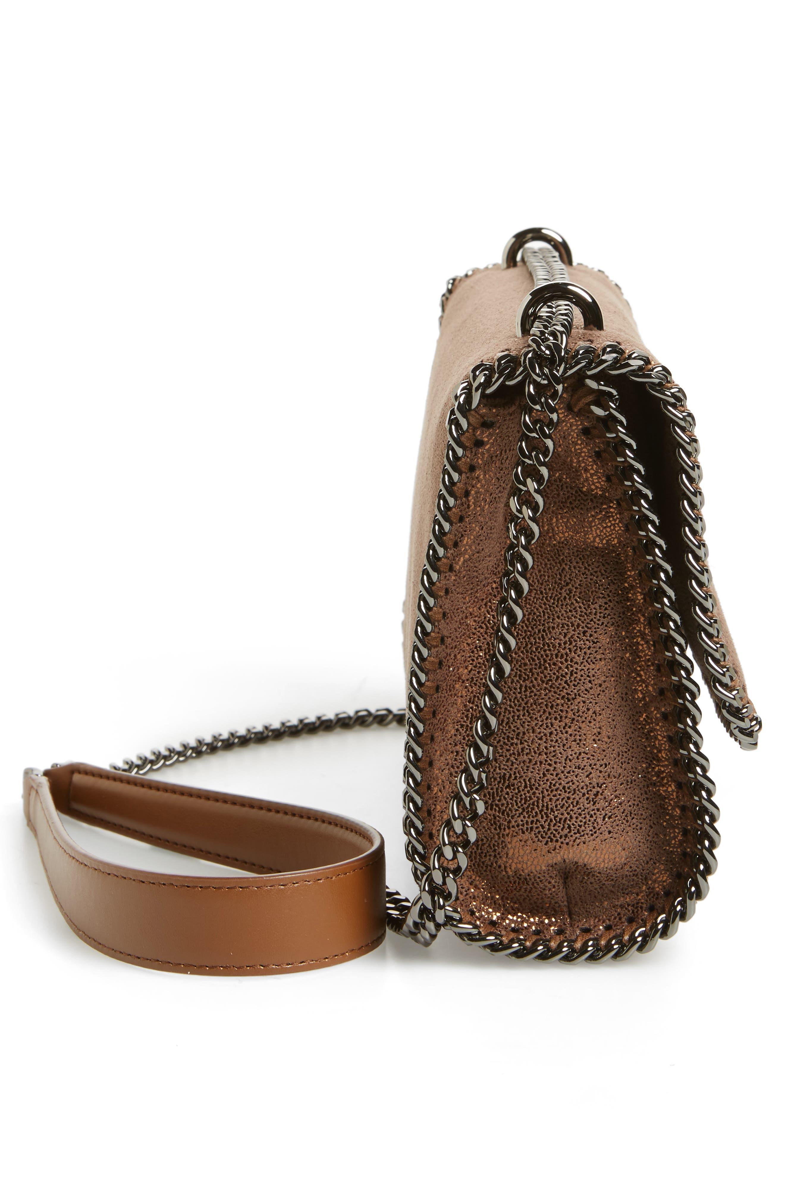 Falabella Metallic Faux Leather Convertible Shoulder Bag,                             Alternate thumbnail 5, color,                             200