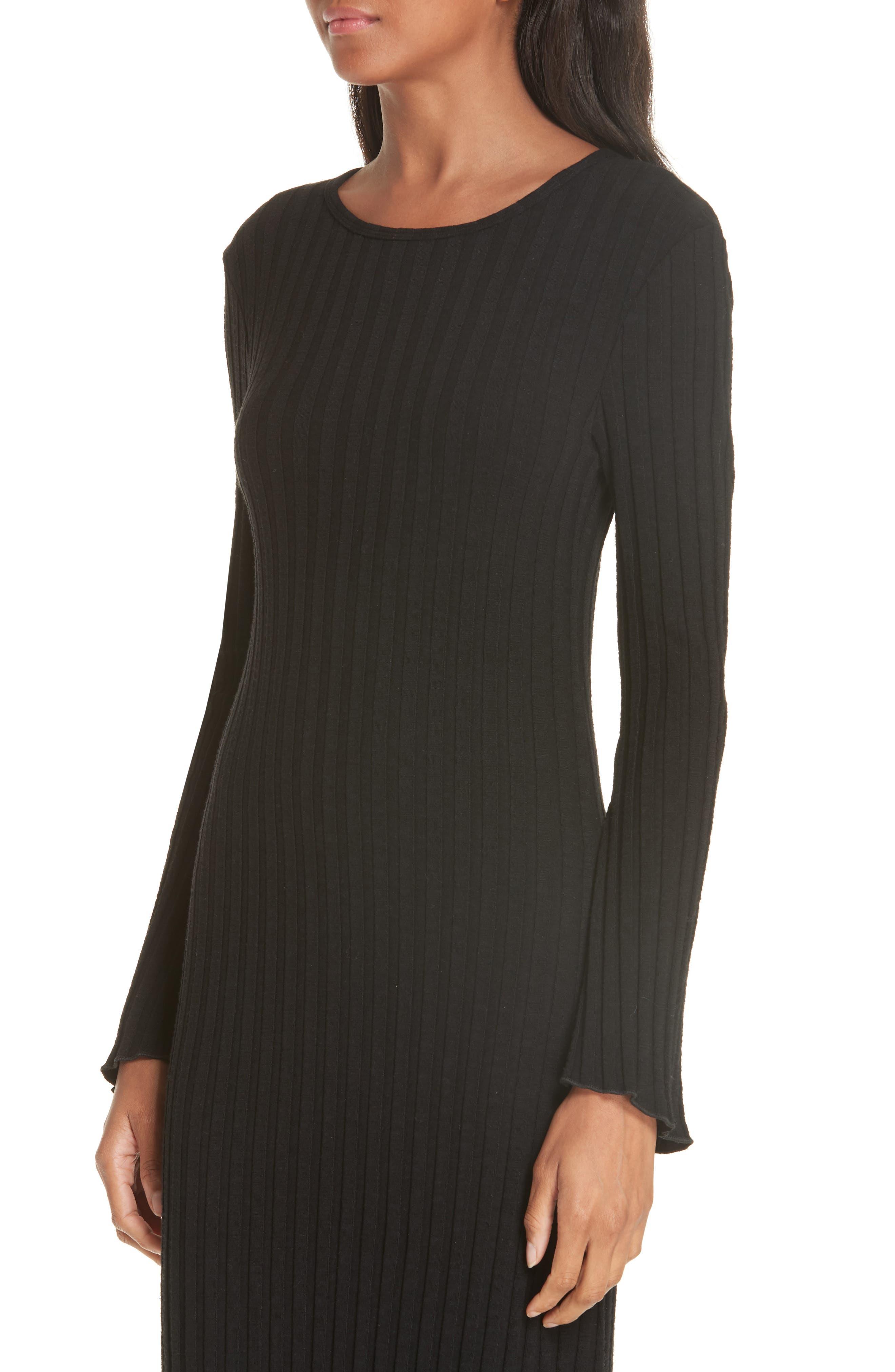 Rib Dress,                             Alternate thumbnail 4, color,                             BLACK