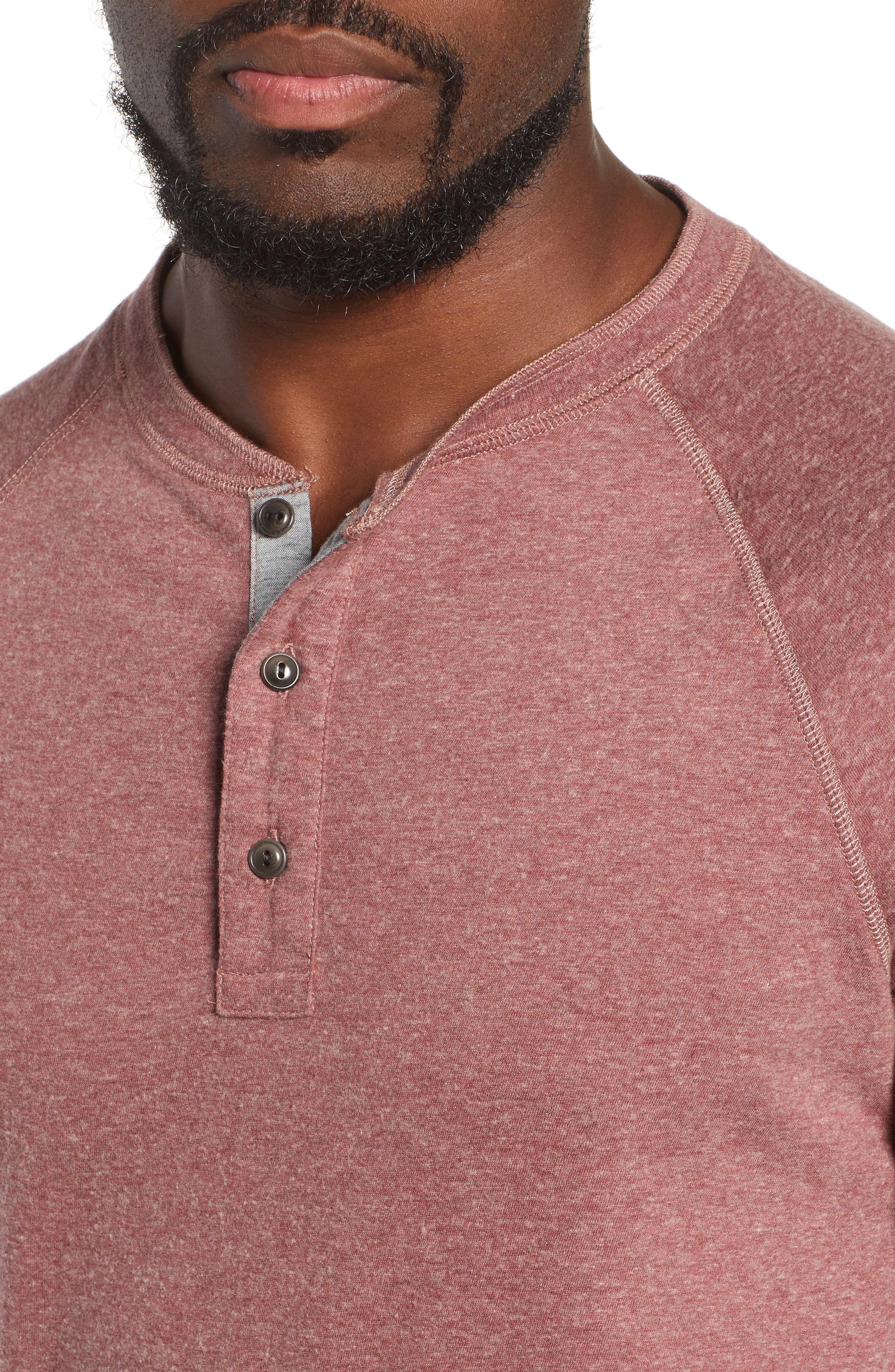 Luxe Heather Knit Organic Cotton Henley,                             Alternate thumbnail 4, color,                             BURGUNDY
