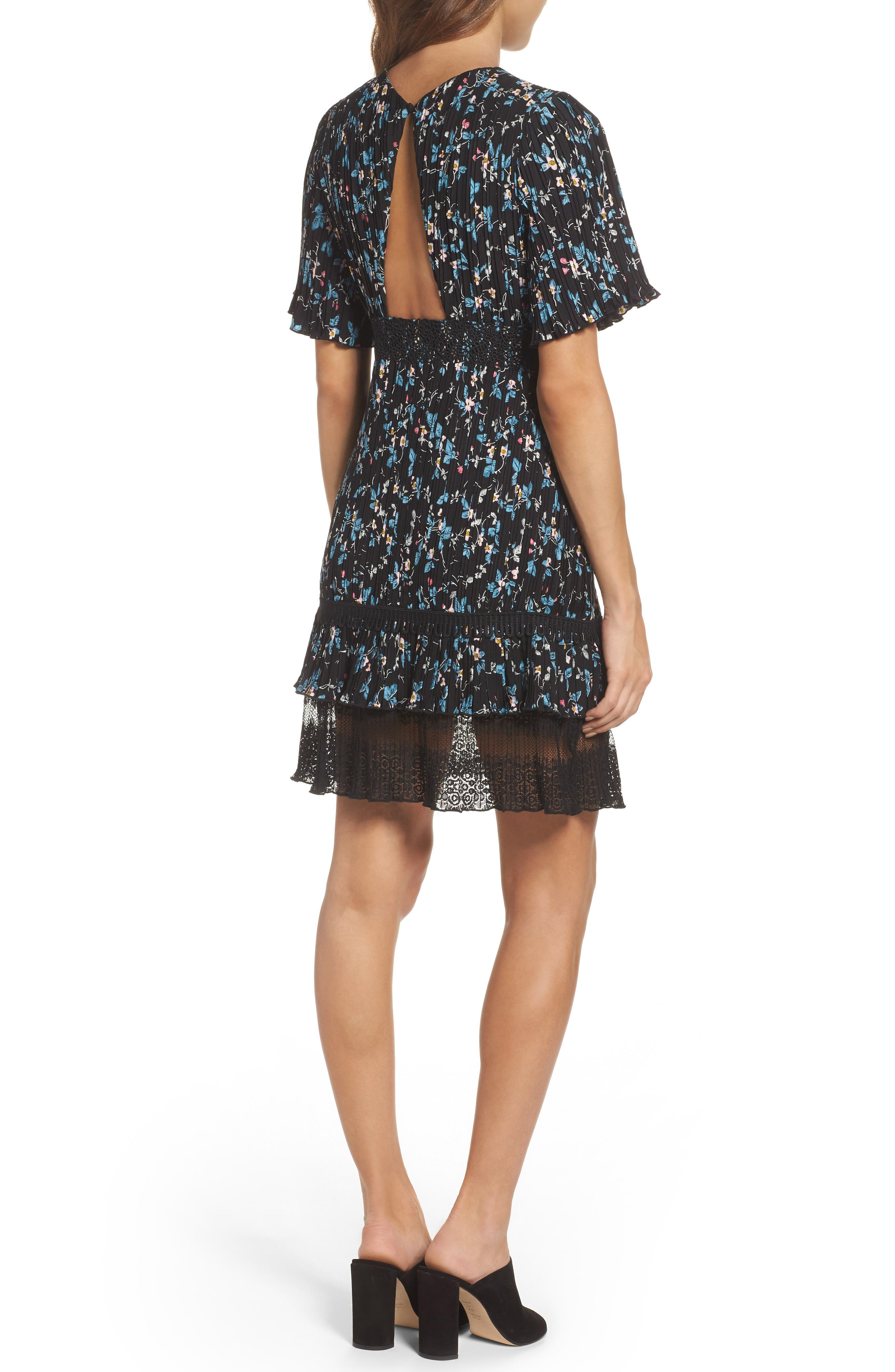 Pleated Lace Dress,                             Alternate thumbnail 2, color,                             001