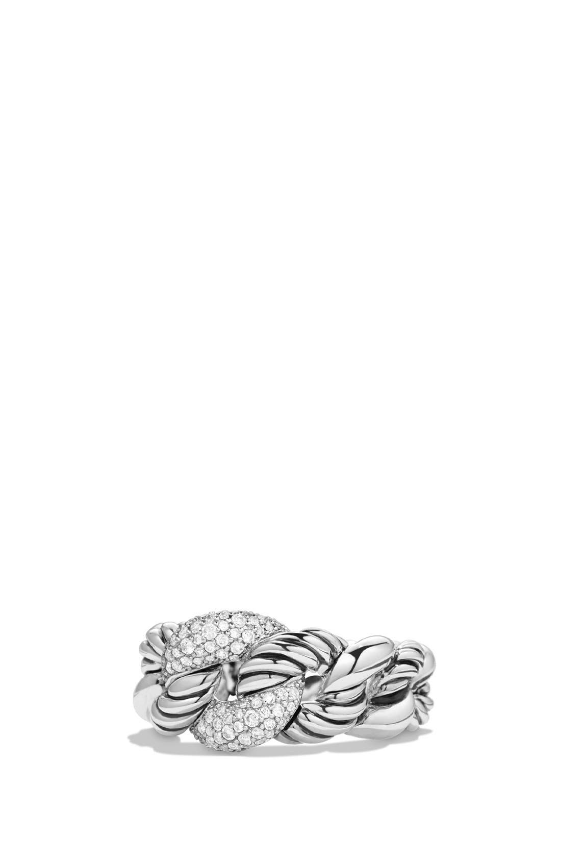 'Belmont' Curb Link Ring with Diamonds,                             Main thumbnail 1, color,                             DIAMOND