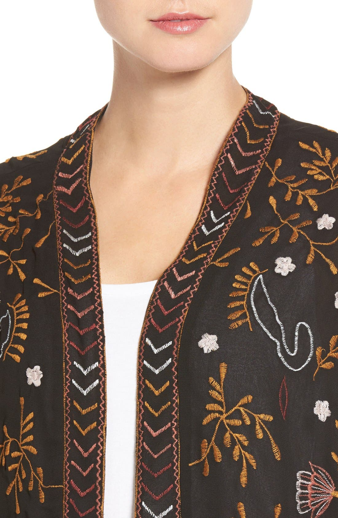 WILLOW & CLAY,                             Embroidered Kimono,                             Alternate thumbnail 4, color,                             001
