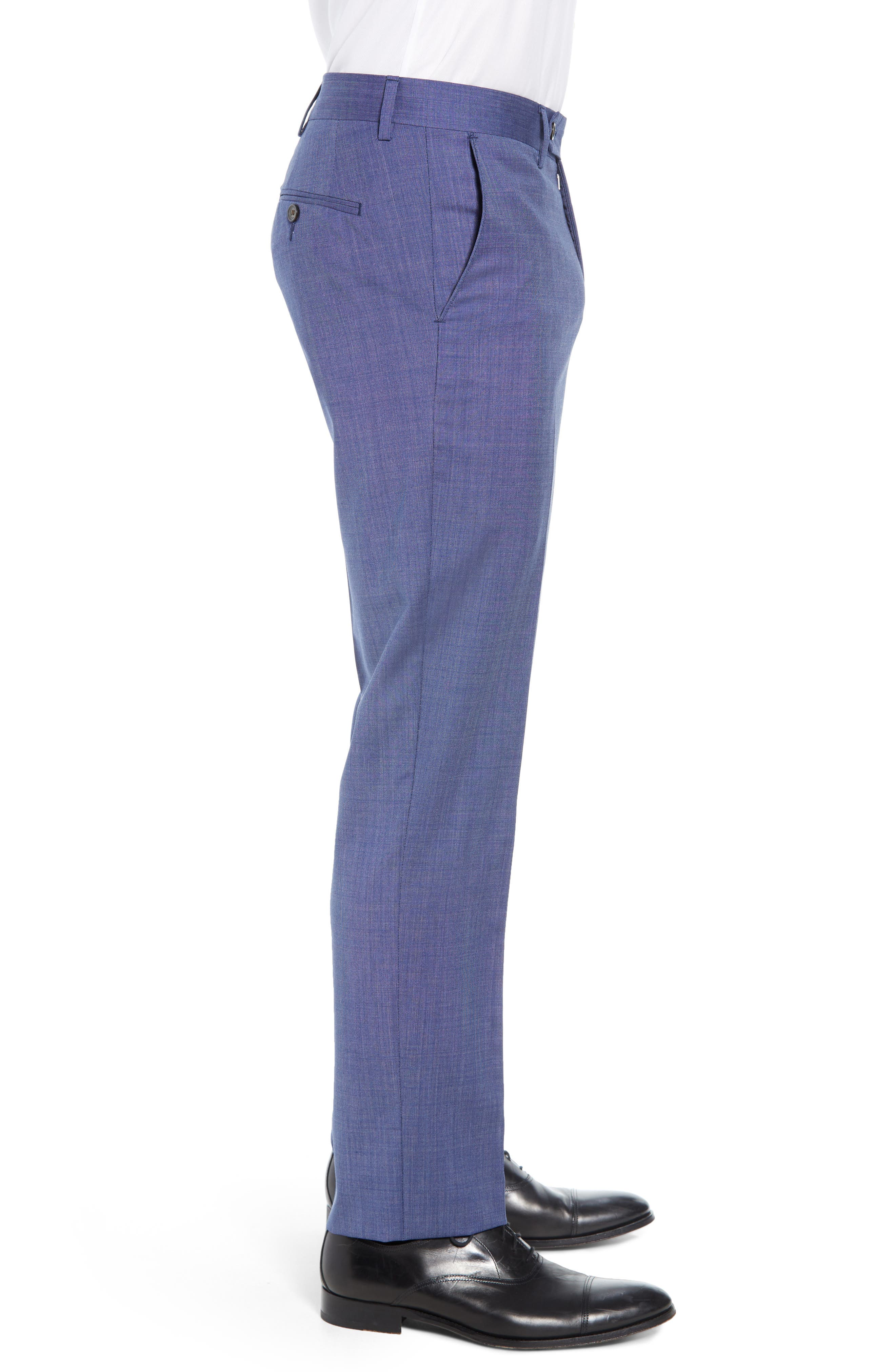 Manufacturing Flat Front Wool Trousers,                             Alternate thumbnail 3, color,                             BLUE