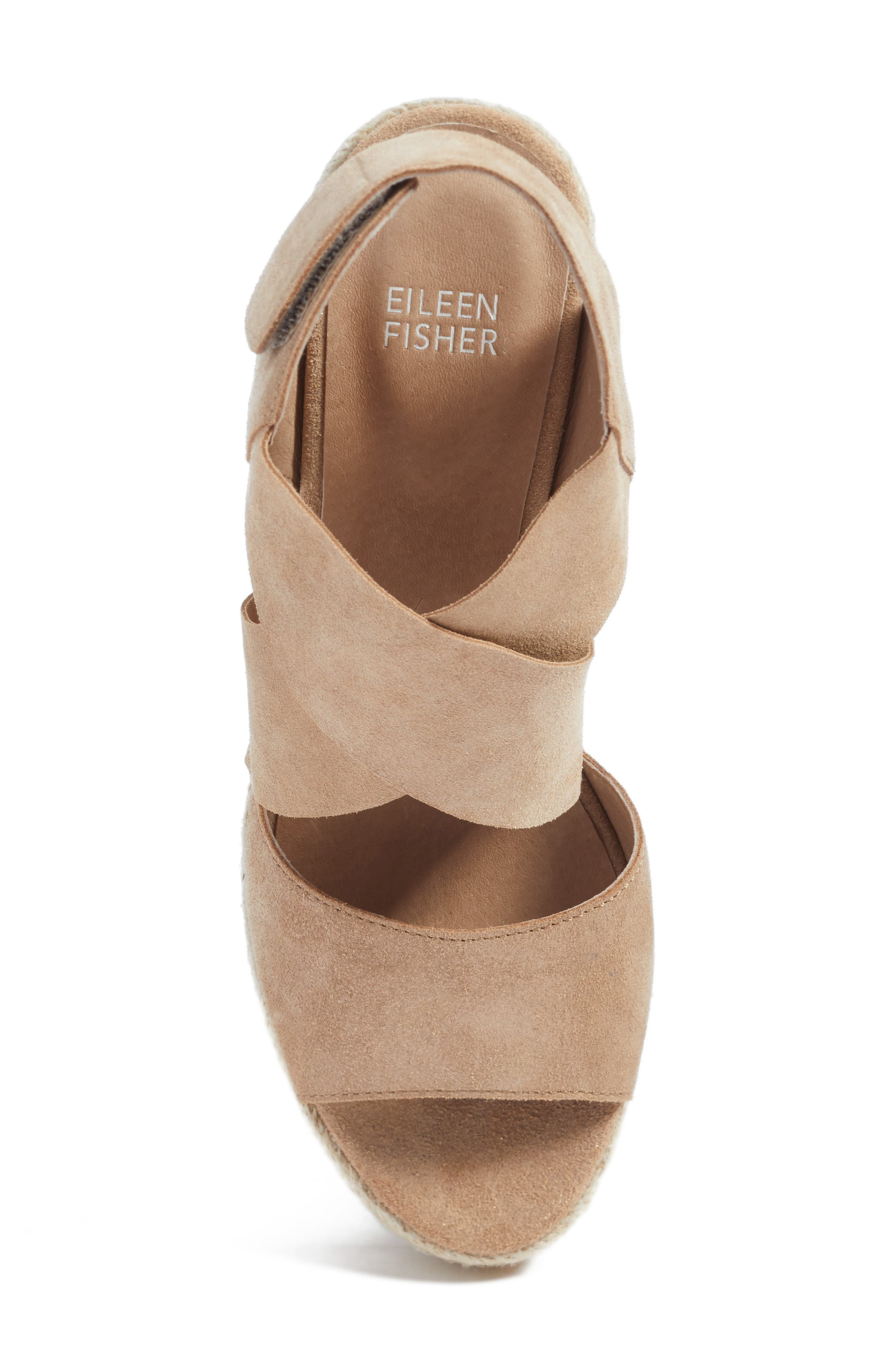 'Willow' Espadrille Wedge Sandal,                             Alternate thumbnail 5, color,                             LIGHT GOLD STARRY LEATHER