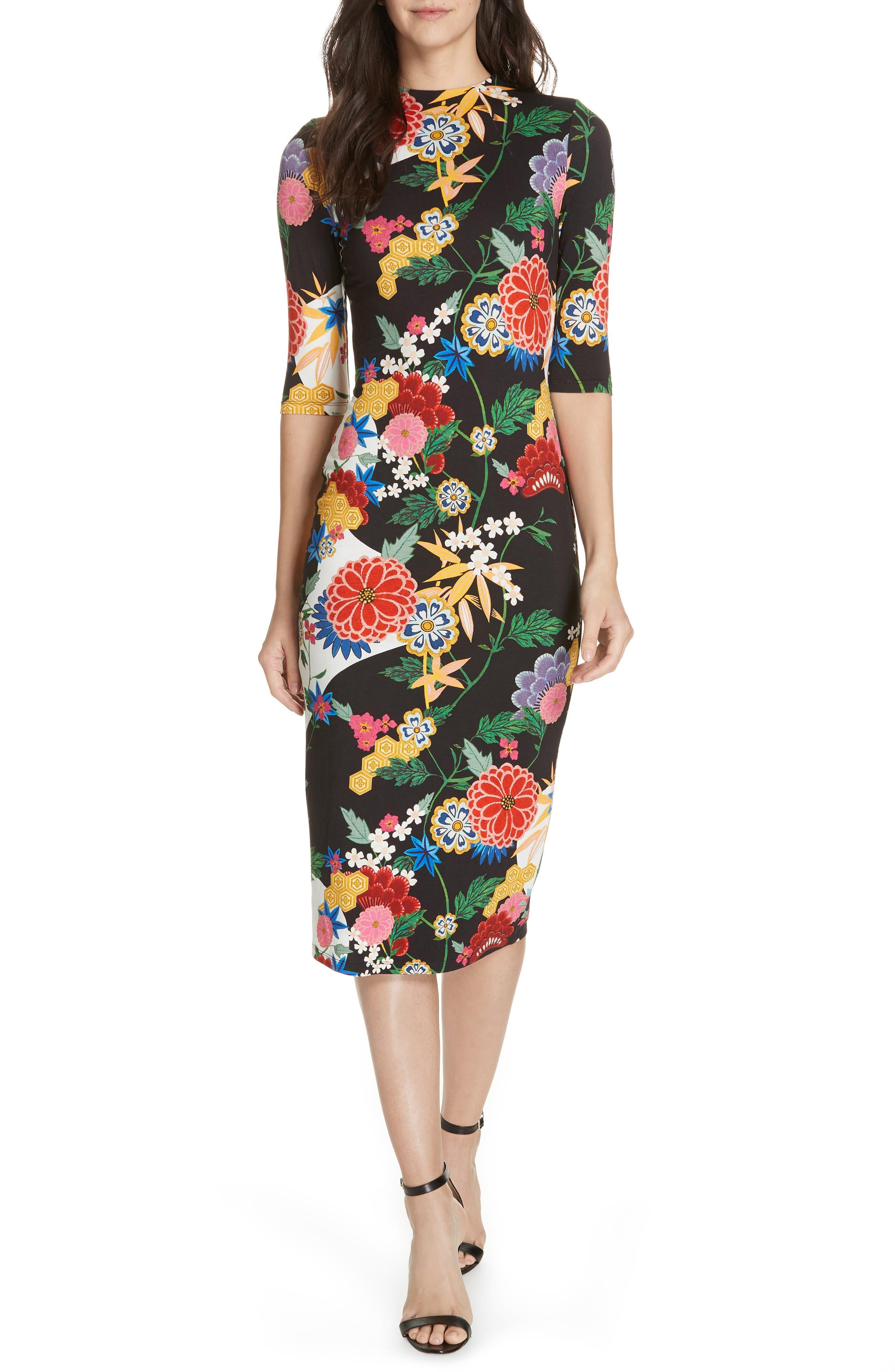 Alice + Olivia Delora Mock Neck Midi Sheath Dress
