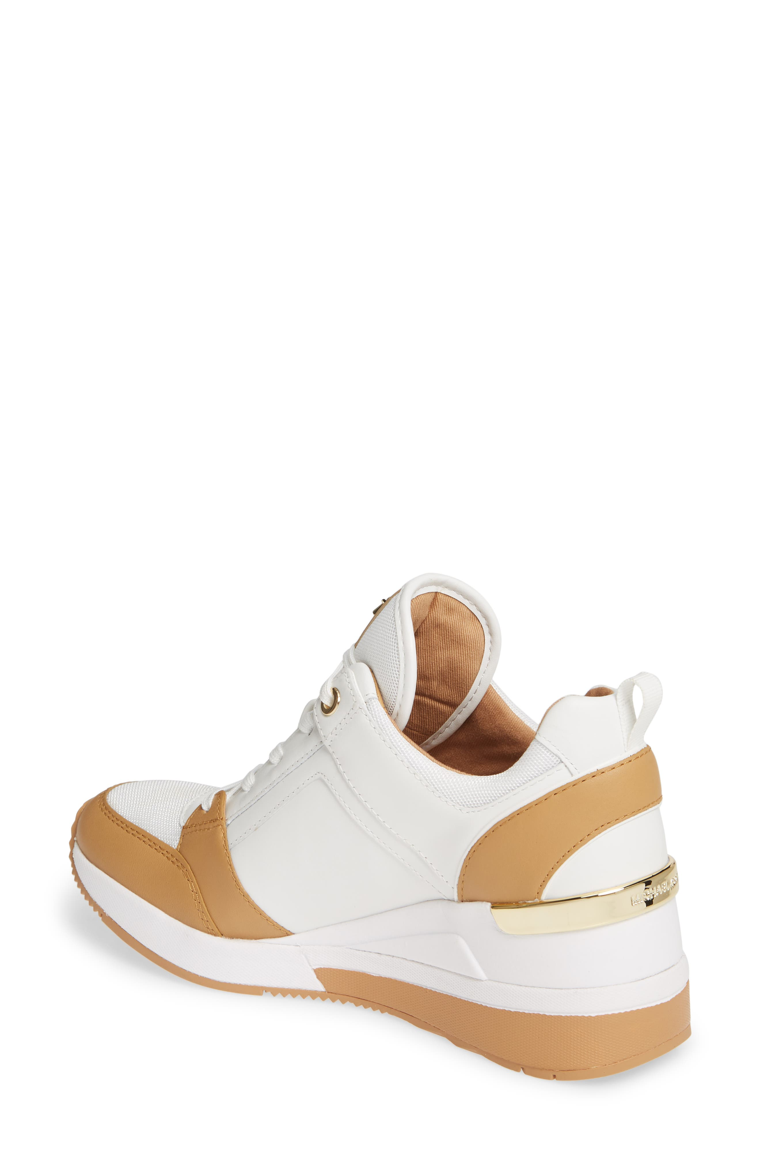 MICHAEL MICHAEL KORS,                             Georgie Wedge Sneaker,                             Alternate thumbnail 2, color,                             OPTIC WHITE MULTI