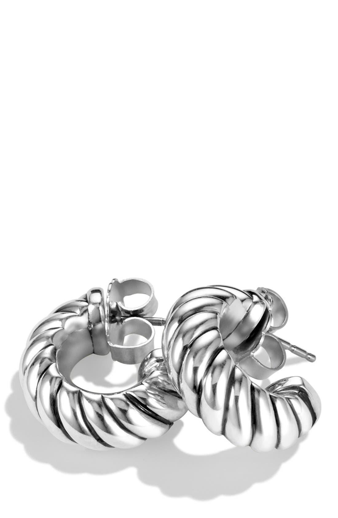 'Cable Classics' Shrimp Earrings,                             Alternate thumbnail 3, color,                             SILVER