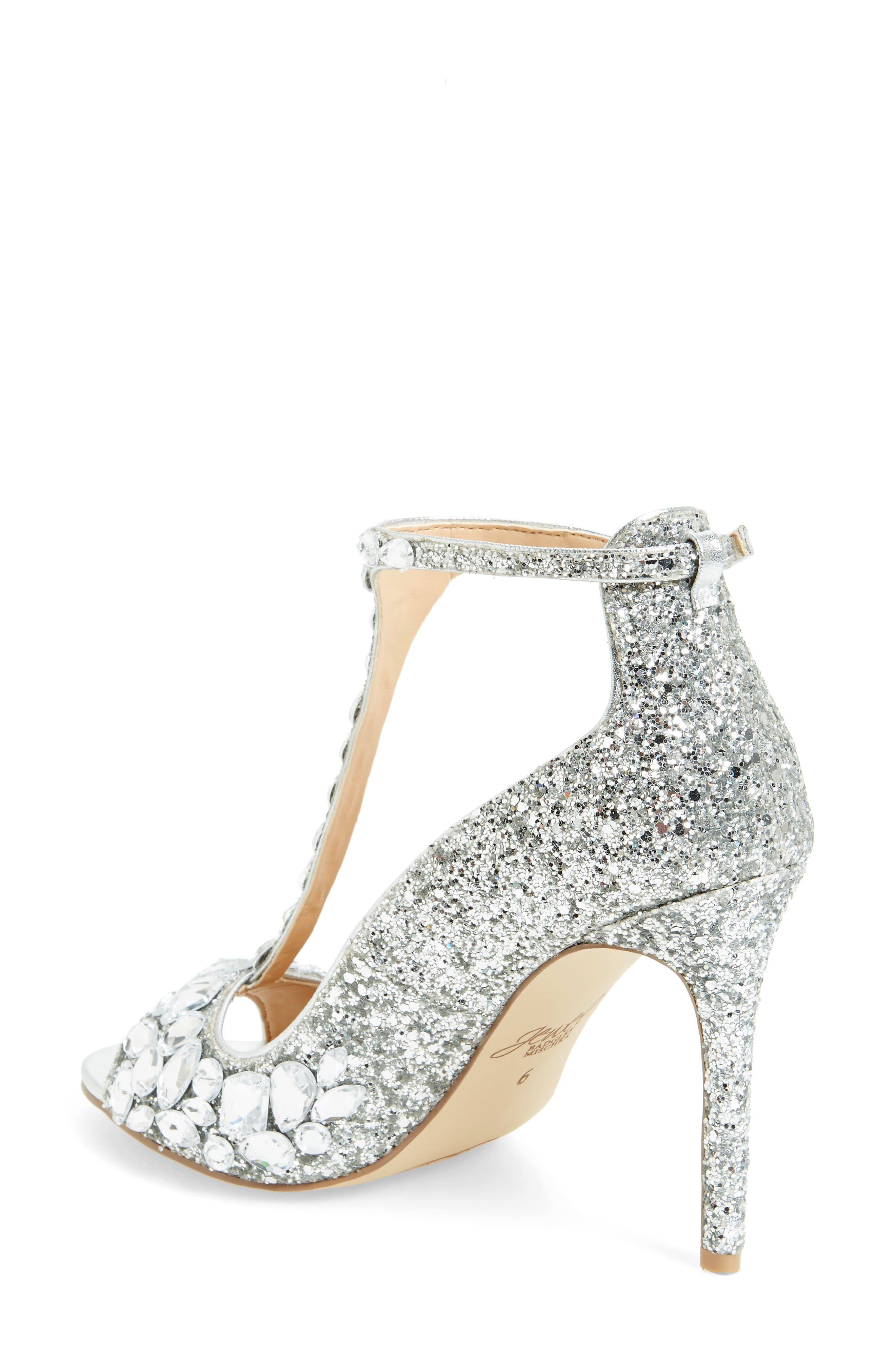 Conroy Embellished T-Strap Pump,                             Alternate thumbnail 2, color,                             SILVER