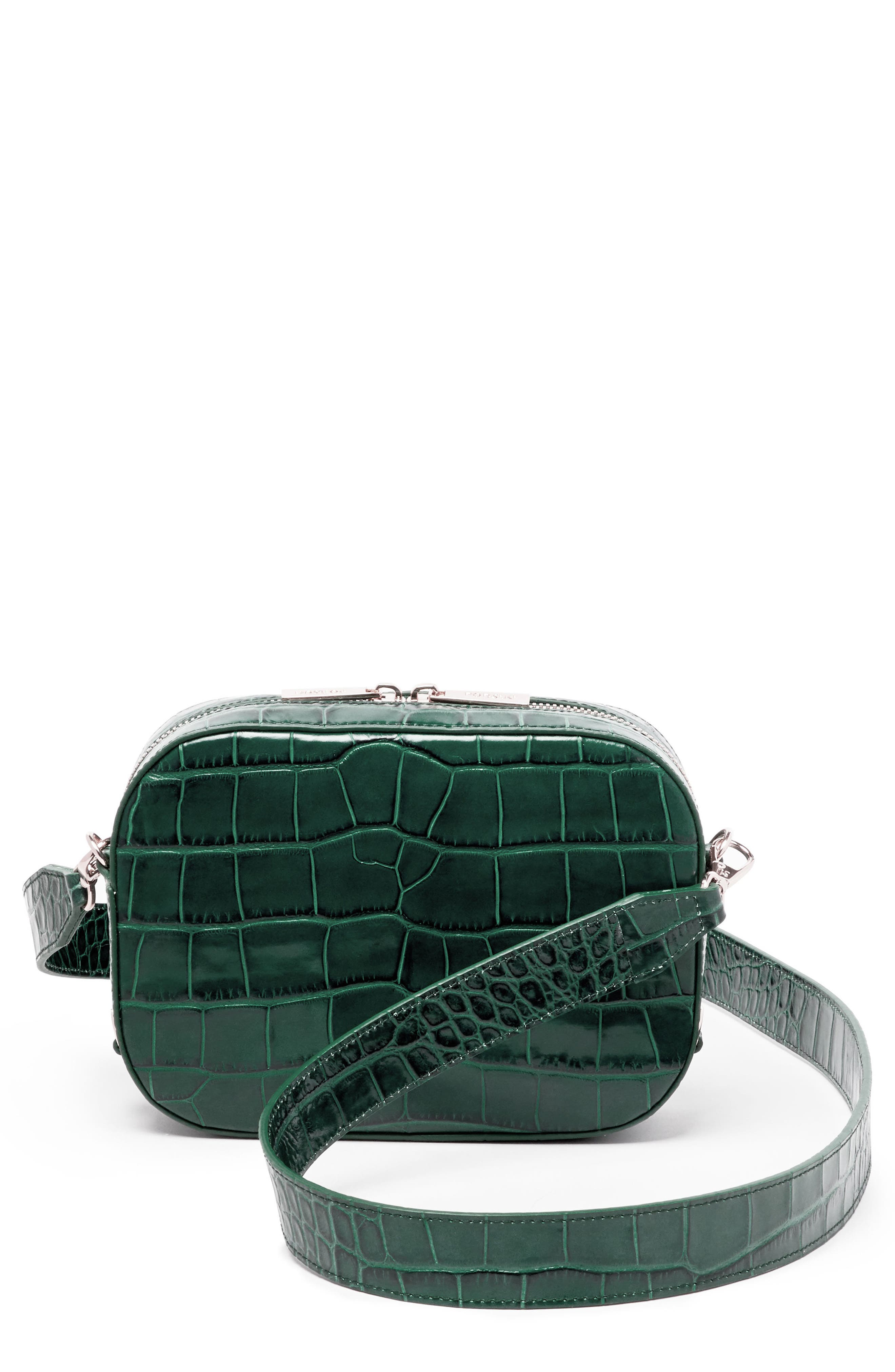 Croc Embossed Bigger Leather Camera Bag,                             Main thumbnail 1, color,                             300