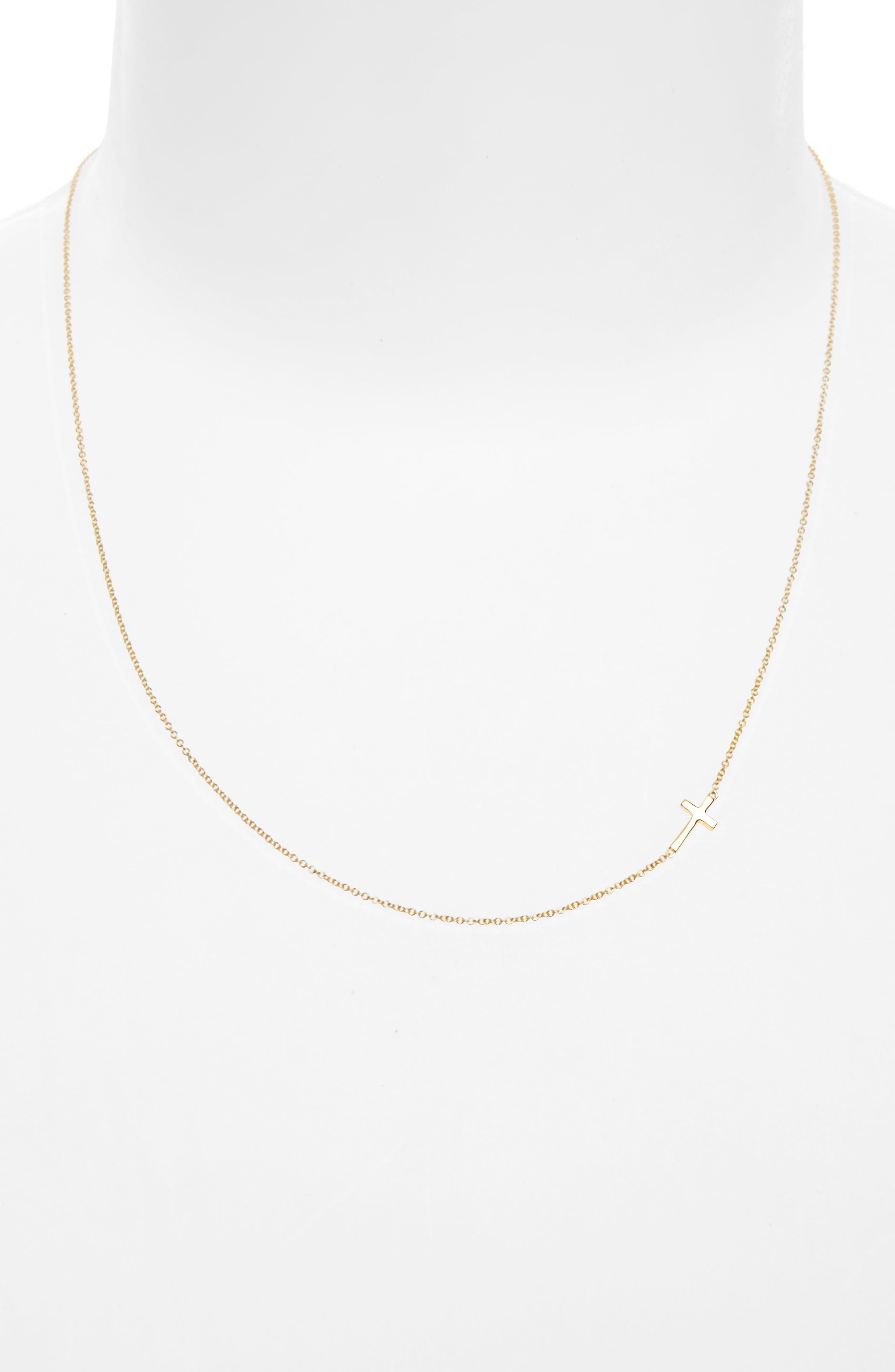 Cross Station Necklace,                             Alternate thumbnail 2, color,                             YELLOW GOLD