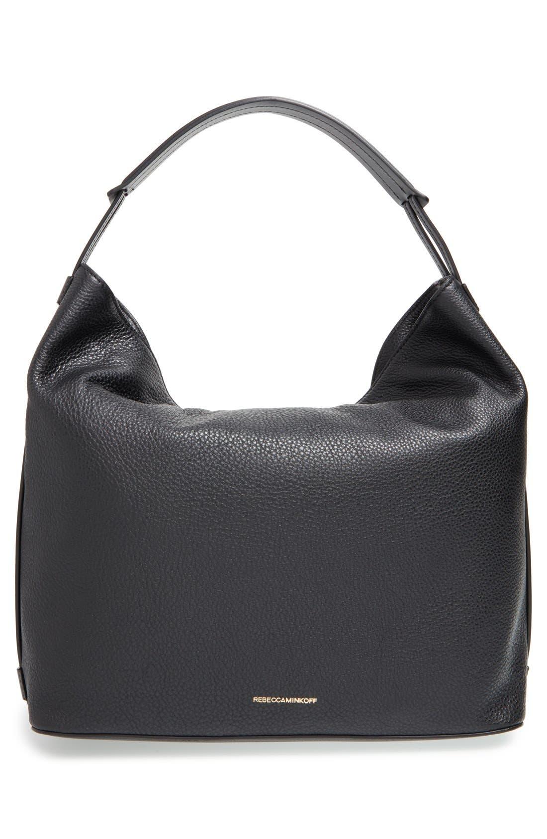 'Isobel' Tassel Leather Hobo,                             Alternate thumbnail 3, color,                             001