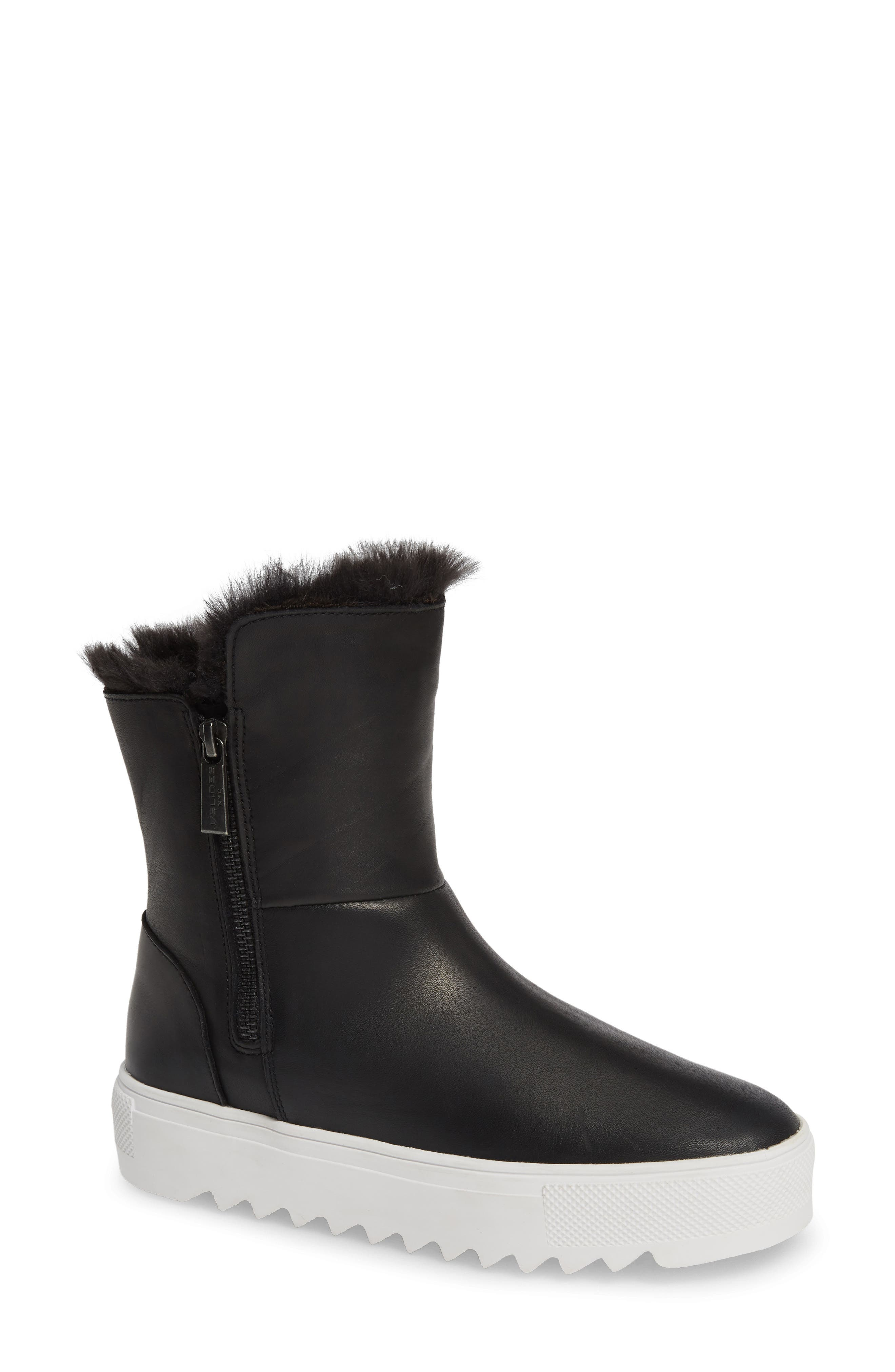 JSLIDES Selene Faux Fur Lined Waterproof Boot in Black Leather