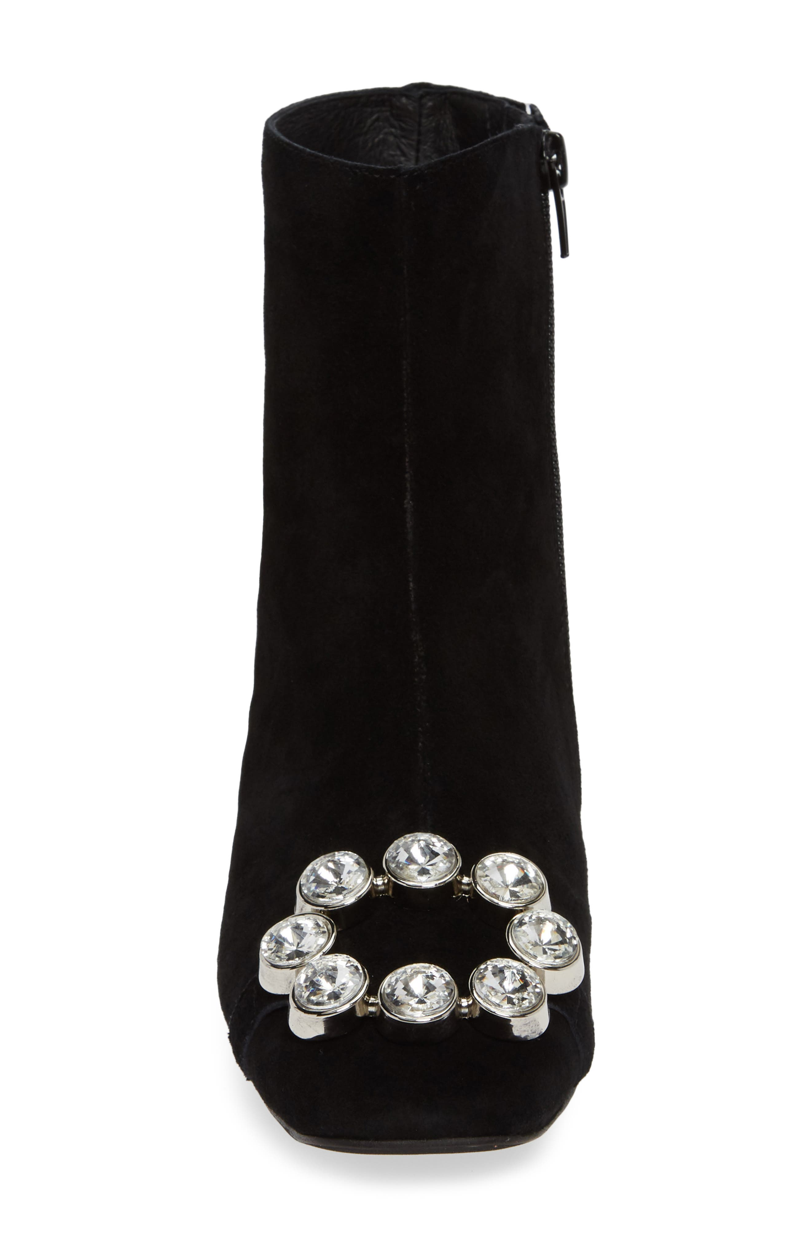 Sumatra Embellished Bootie,                             Alternate thumbnail 4, color,                             BLACK SUEDE