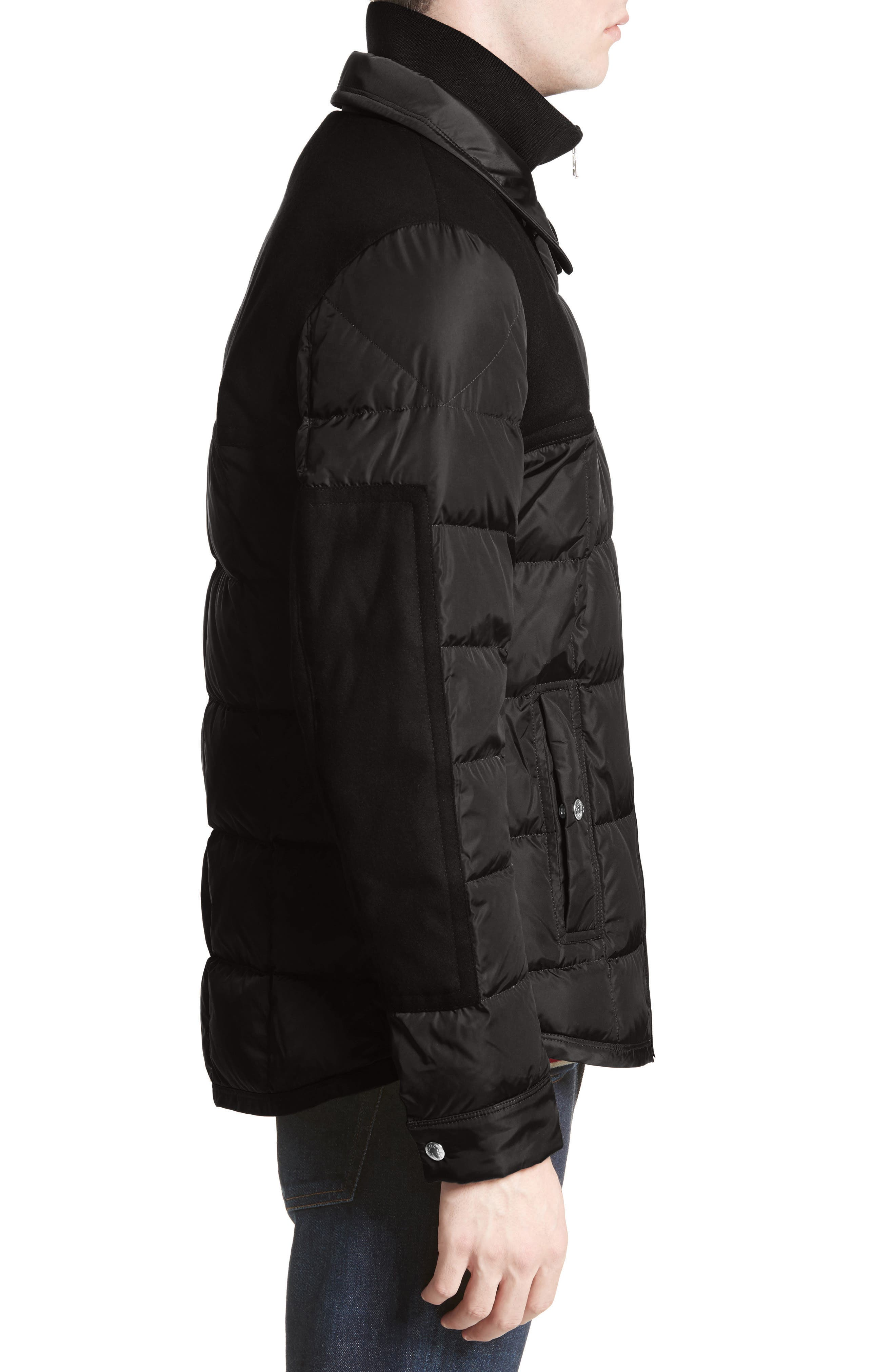 Clovis Mixed Media Quilted Down Jacket,                             Alternate thumbnail 3, color,                             001