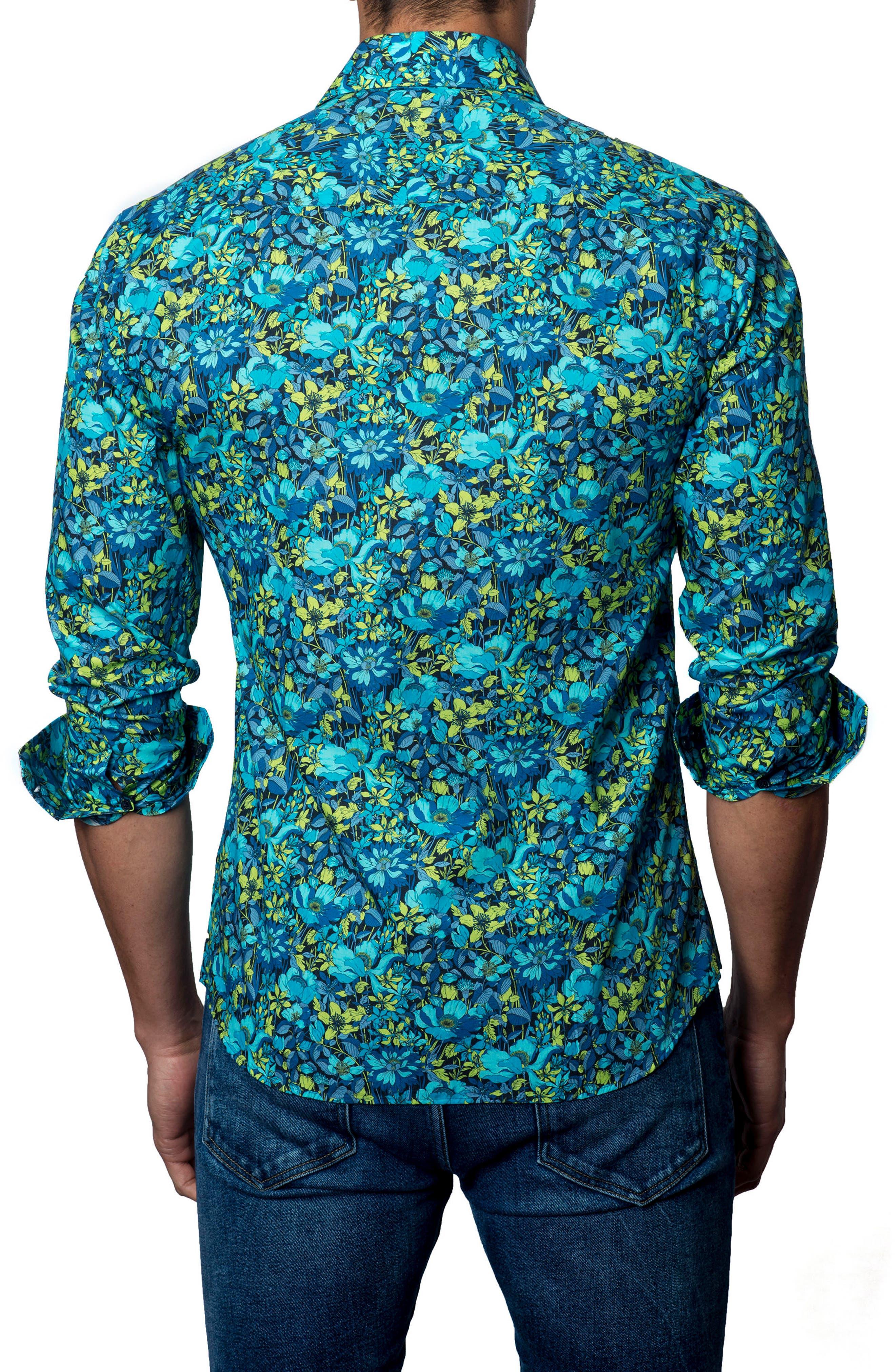 Sport Shirt,                             Alternate thumbnail 2, color,                             BLACK /TURQUOISE