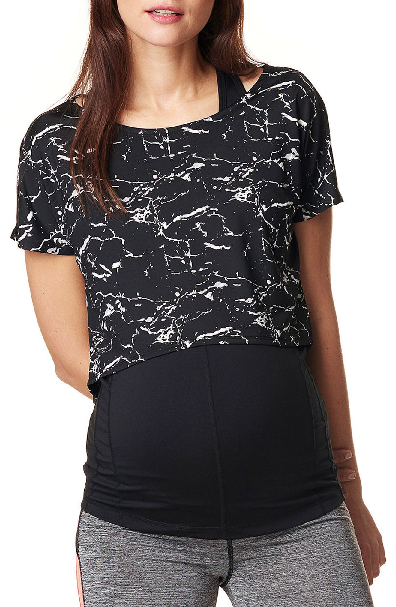 Florien Cropped Maternity Layering Tee,                             Main thumbnail 1, color,                             BLACK