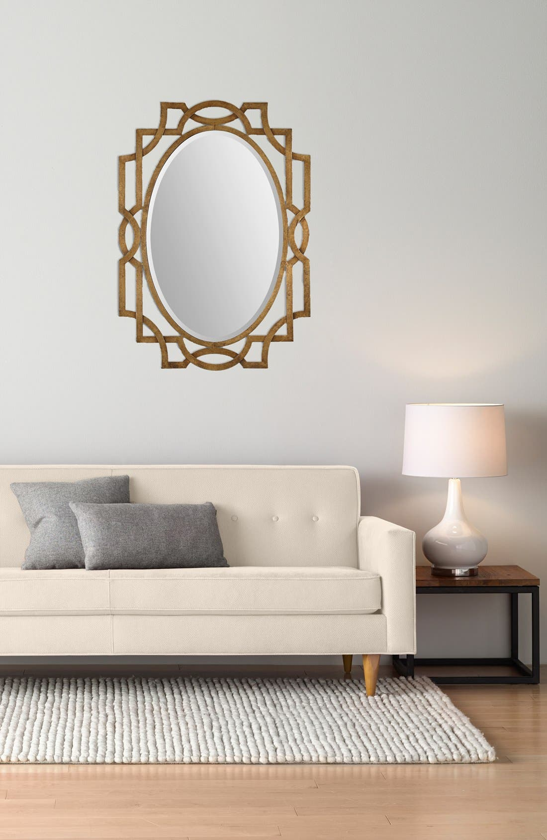 'Margutta' Antiqued Goldtone Oval Mirror,                             Alternate thumbnail 2, color,                             710