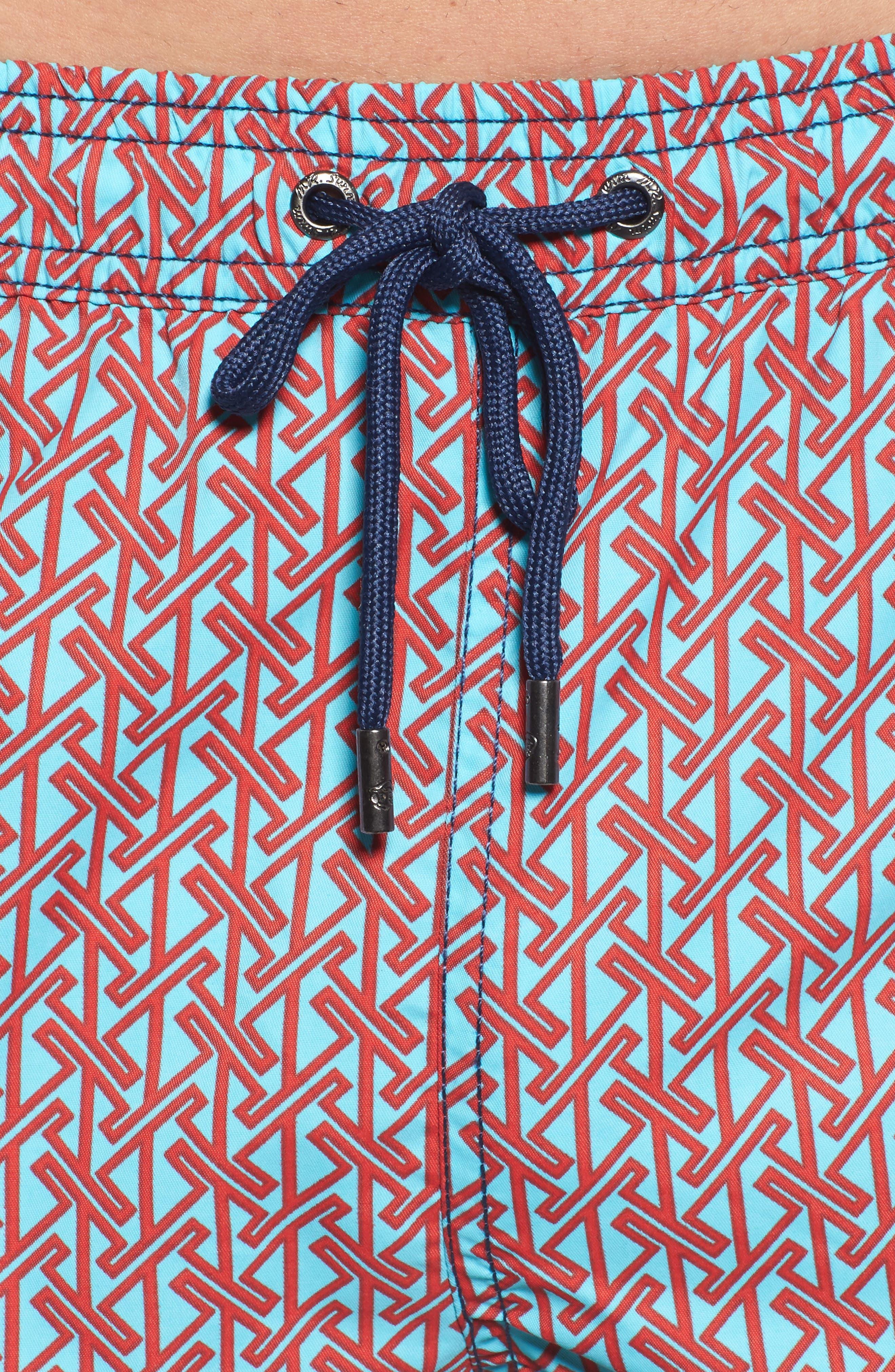Mr. Swim Vertical Zig Print Swim Trunks,                             Alternate thumbnail 4, color,                             400