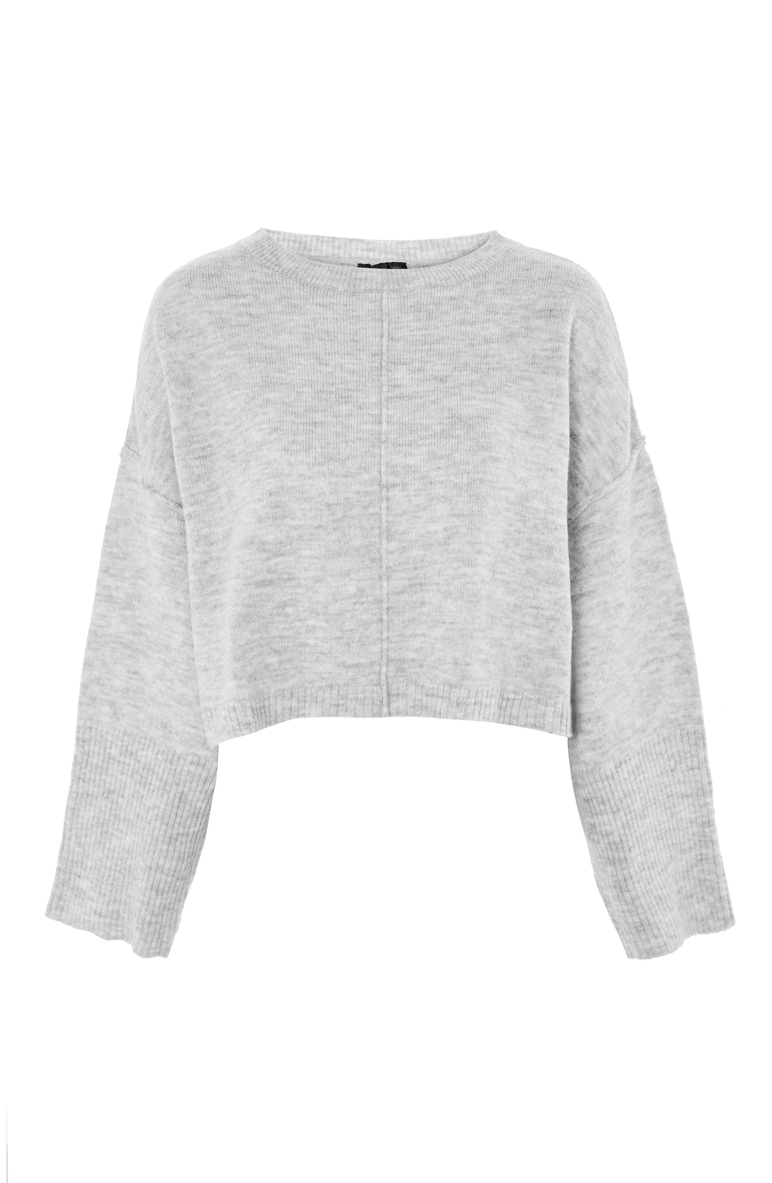 Wide Sleeve Crop Sweater,                             Alternate thumbnail 4, color,                             020