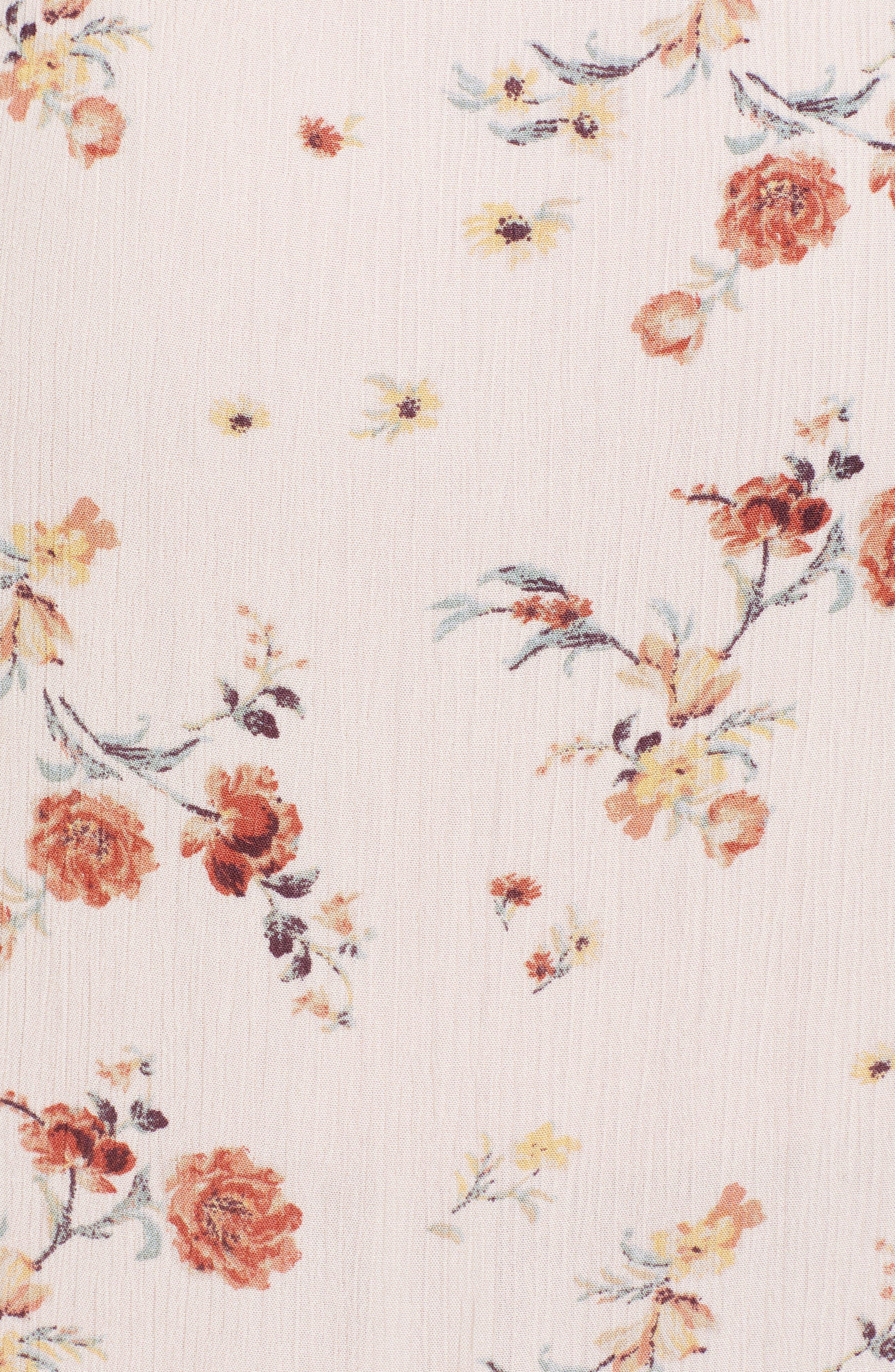 Rosa Floral Tie Front Crop Top,                             Alternate thumbnail 5, color,