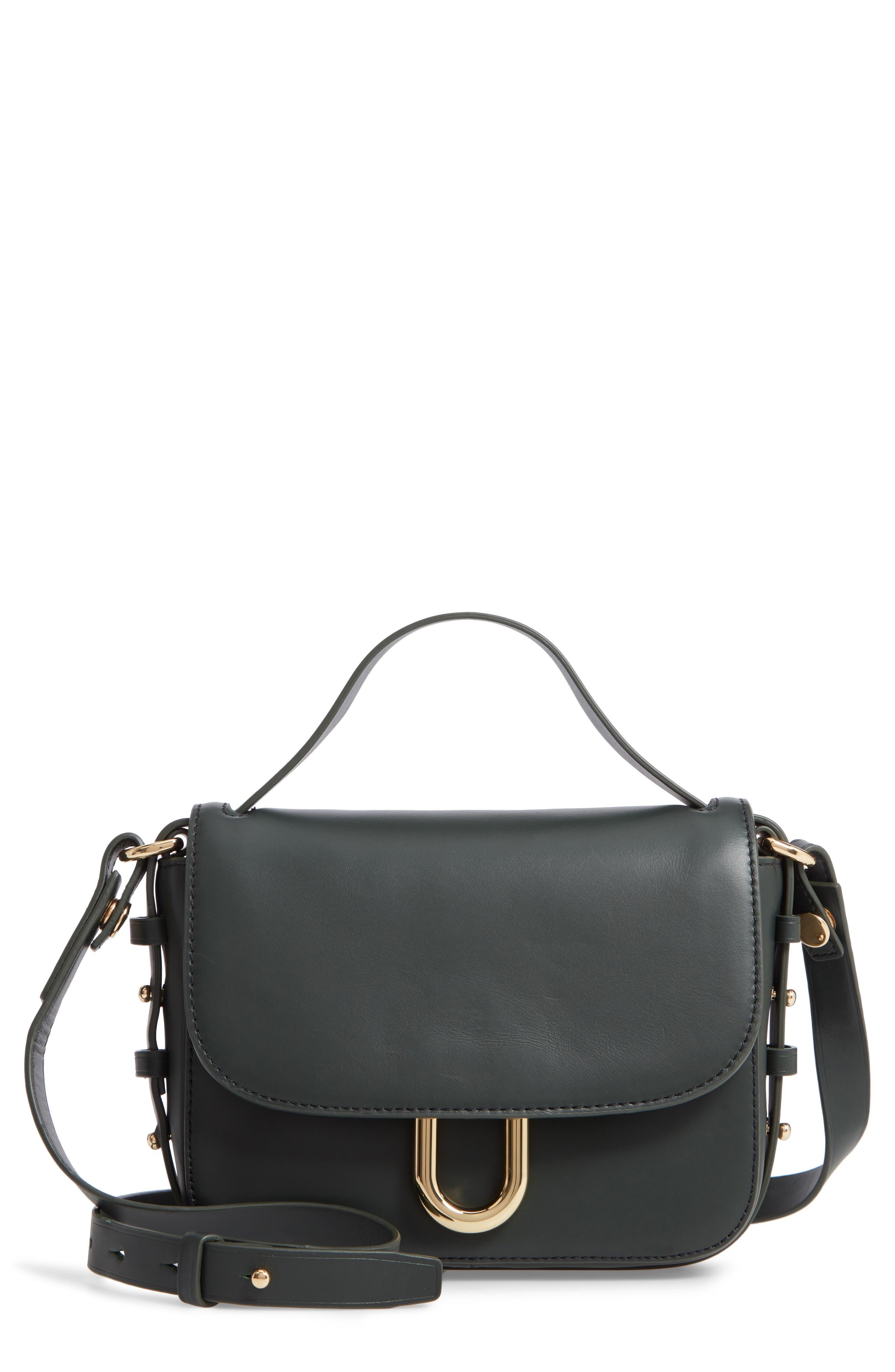 Harper Leather Crossbody Bag, Main, color, DARK EVERGREEN