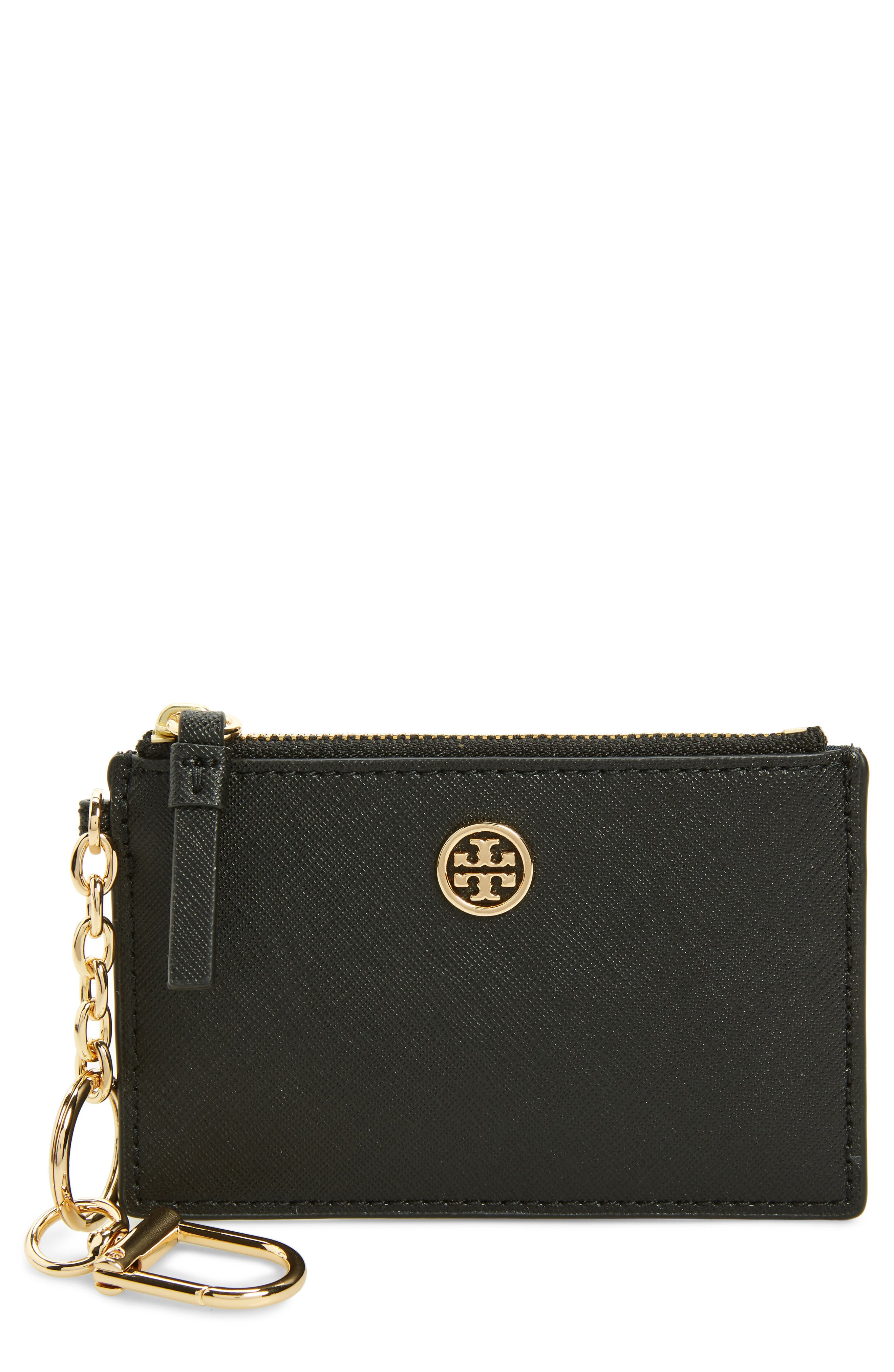 TORY BURCH,                             Robinson Leather Card Case with Key Chain,                             Main thumbnail 1, color,                             001