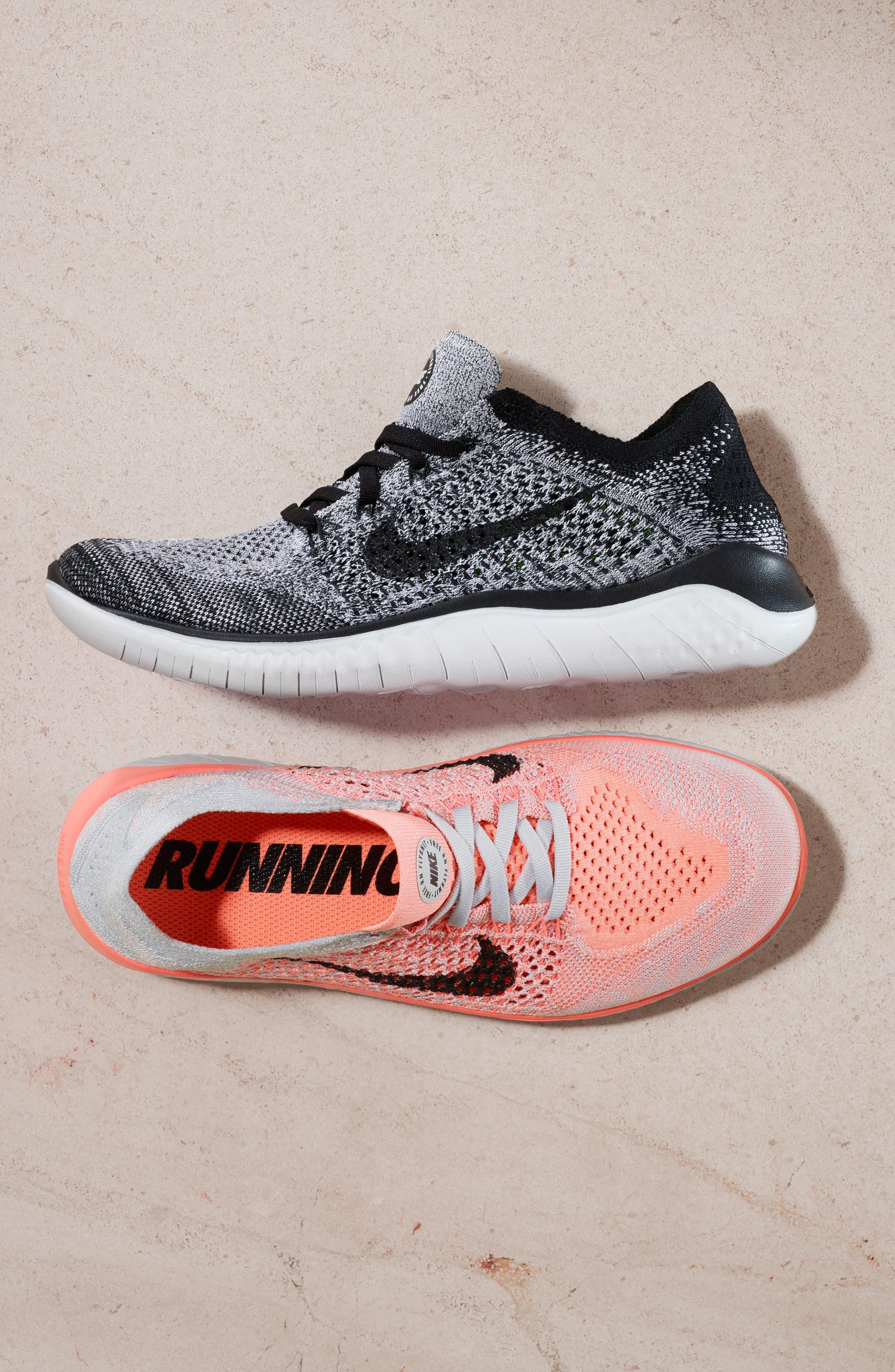 NIKE,                             Free RN 2018 Running Shoe,                             Alternate thumbnail 12, color,                             BLACK/ WHITE