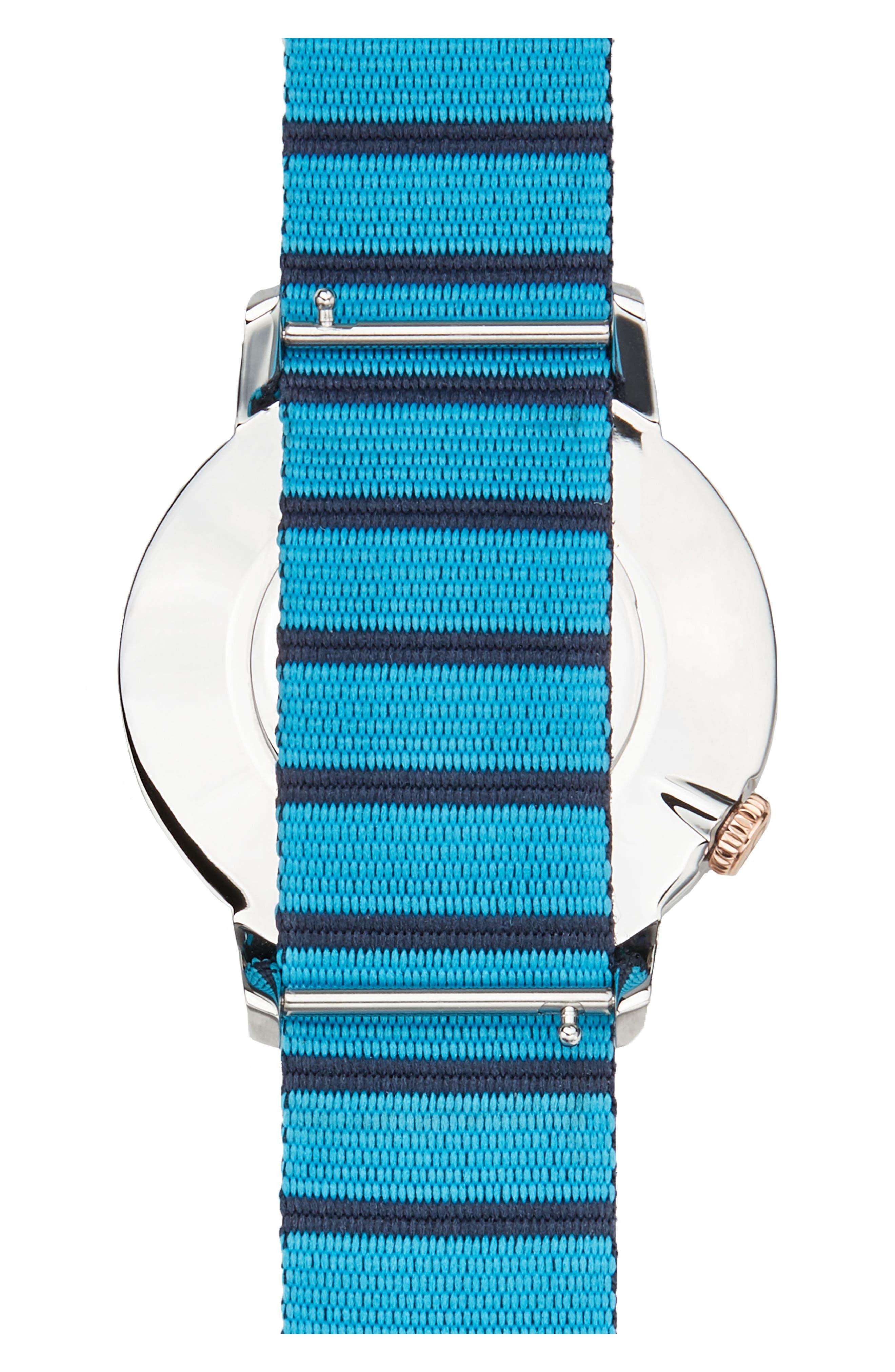 Davis Nylon Strap Watch, 44mm,                             Alternate thumbnail 2, color,                             WHITE/ NAVY