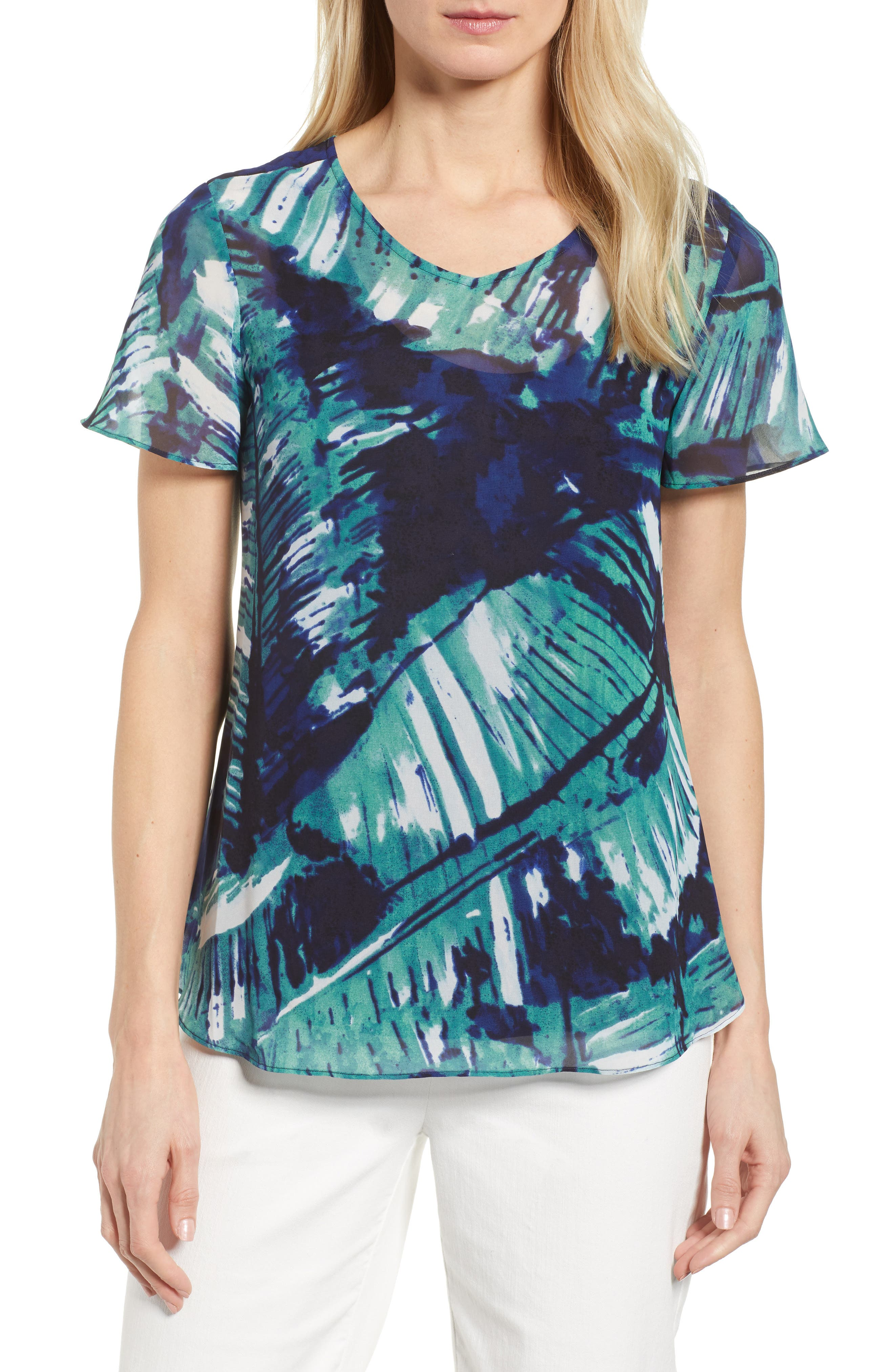 Leaf an Impression Print Top,                             Main thumbnail 1, color,                             390