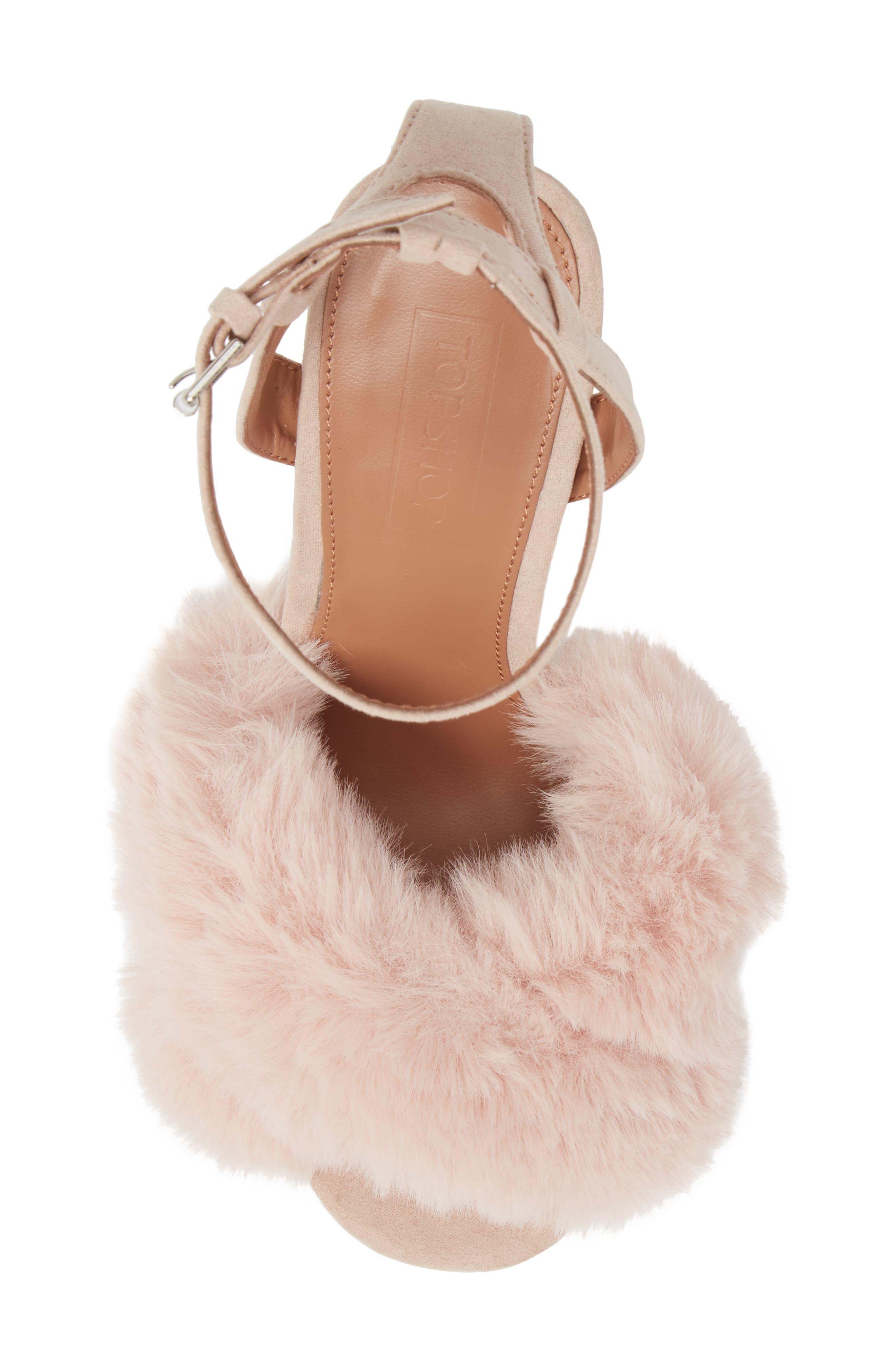 Sassy Faux Fur Sandal,                             Alternate thumbnail 15, color,